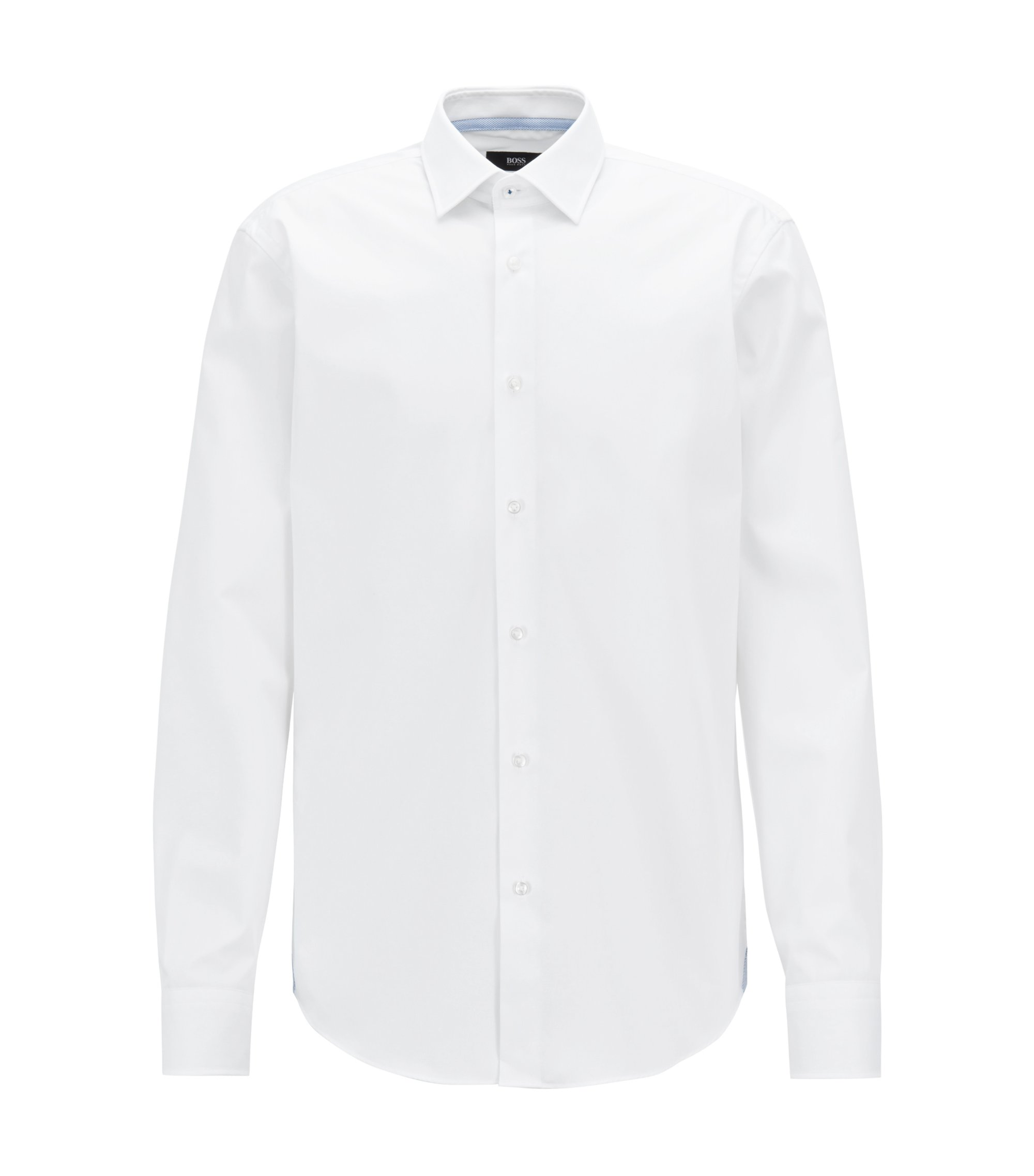 Regular-fit easy-iron shirt with contrast details, White