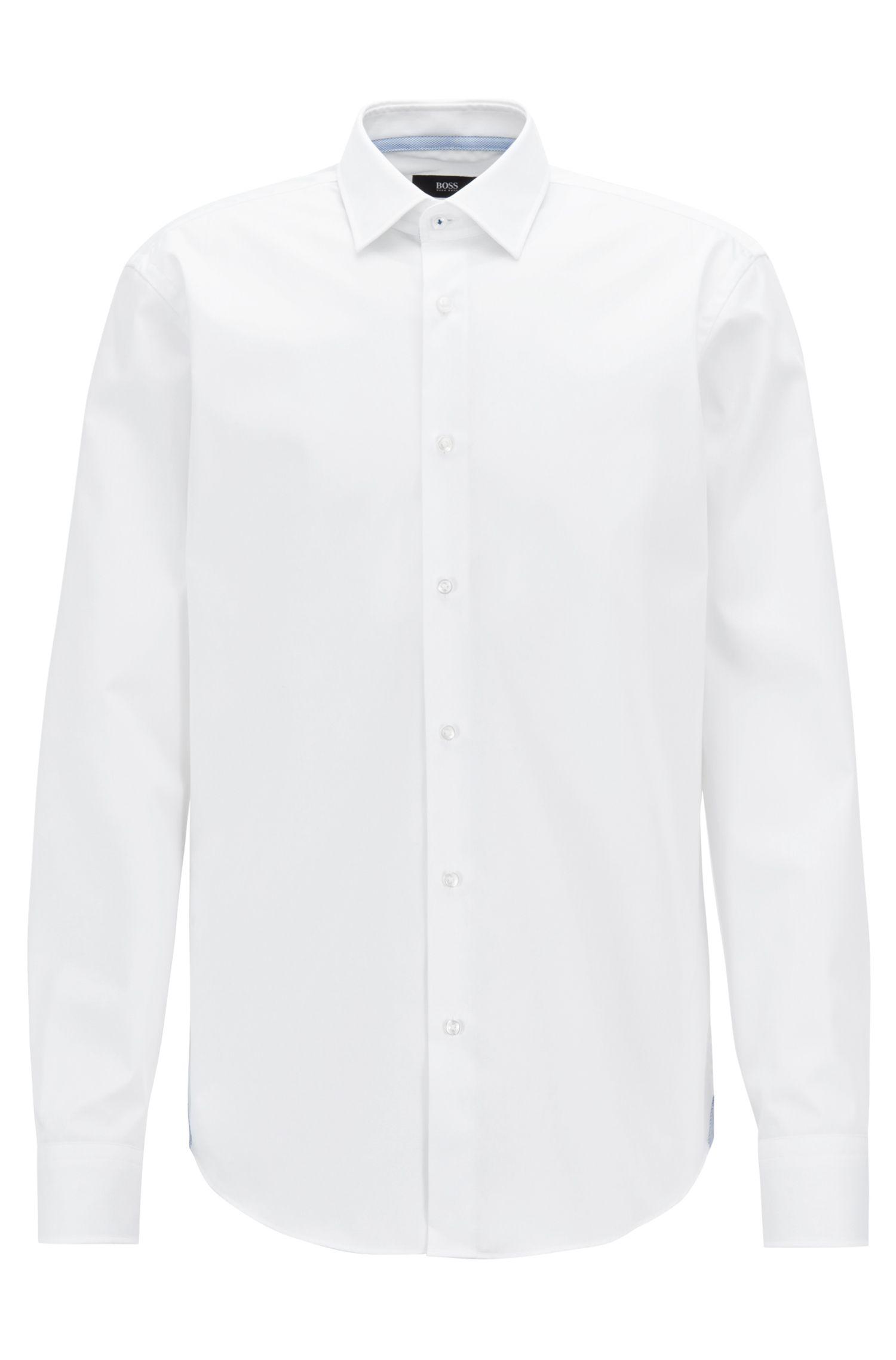 Bügelleichtes Regular-Fit Hemd mit kontrastfarbenen Details, Weiß