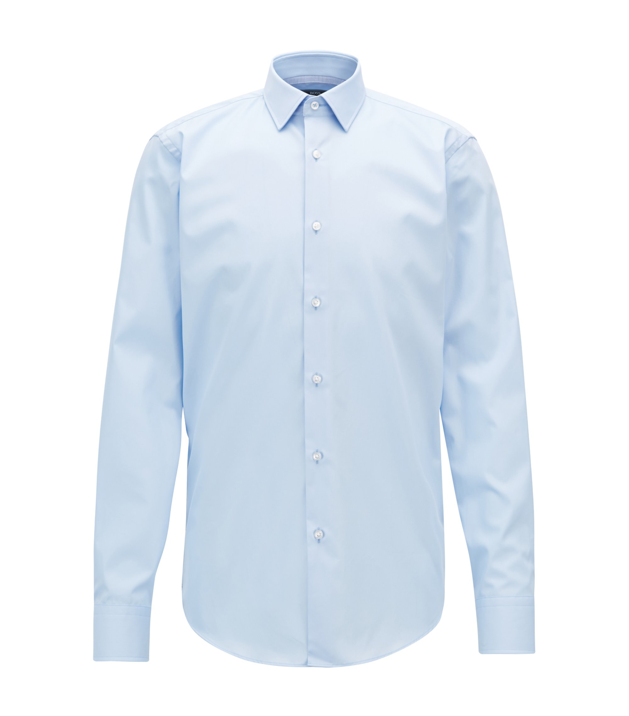Regular-fit easy-iron shirt with contrast details, Light Blue