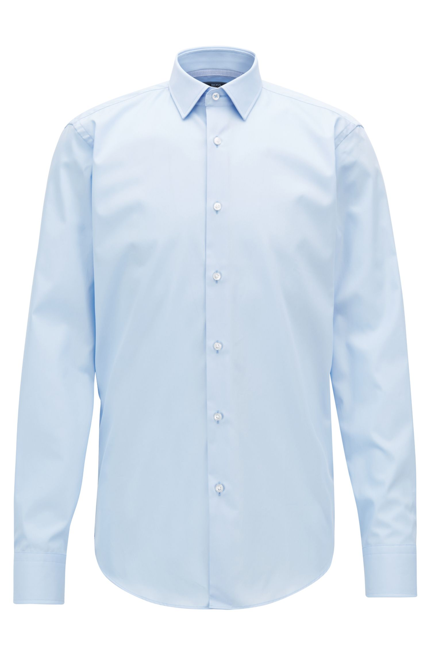 Camicia regular fit facile da stirare con dettagli a contrasto, Celeste
