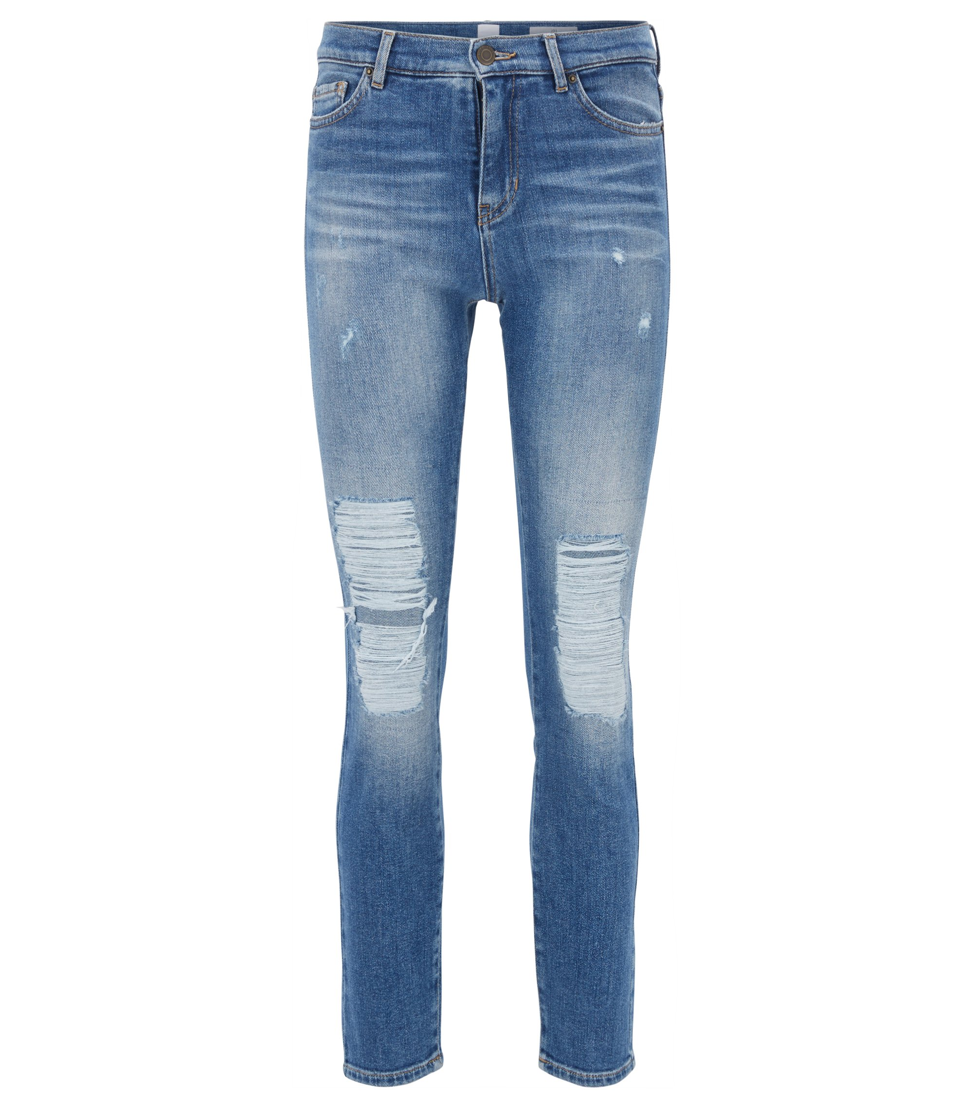 Slim-fit cropped jeans with heavily destroyed effects, Blue
