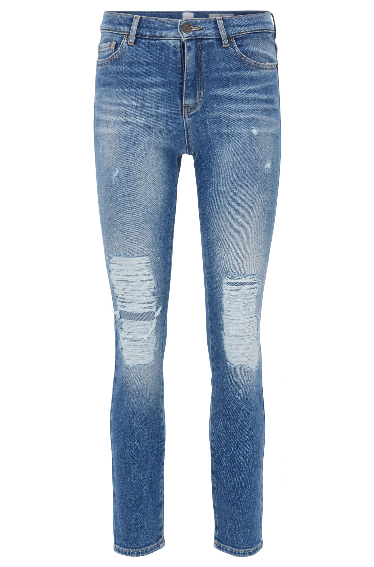 Slim-Fit Jeans in Cropped-Länge mit starken Used-Effekten, Blau