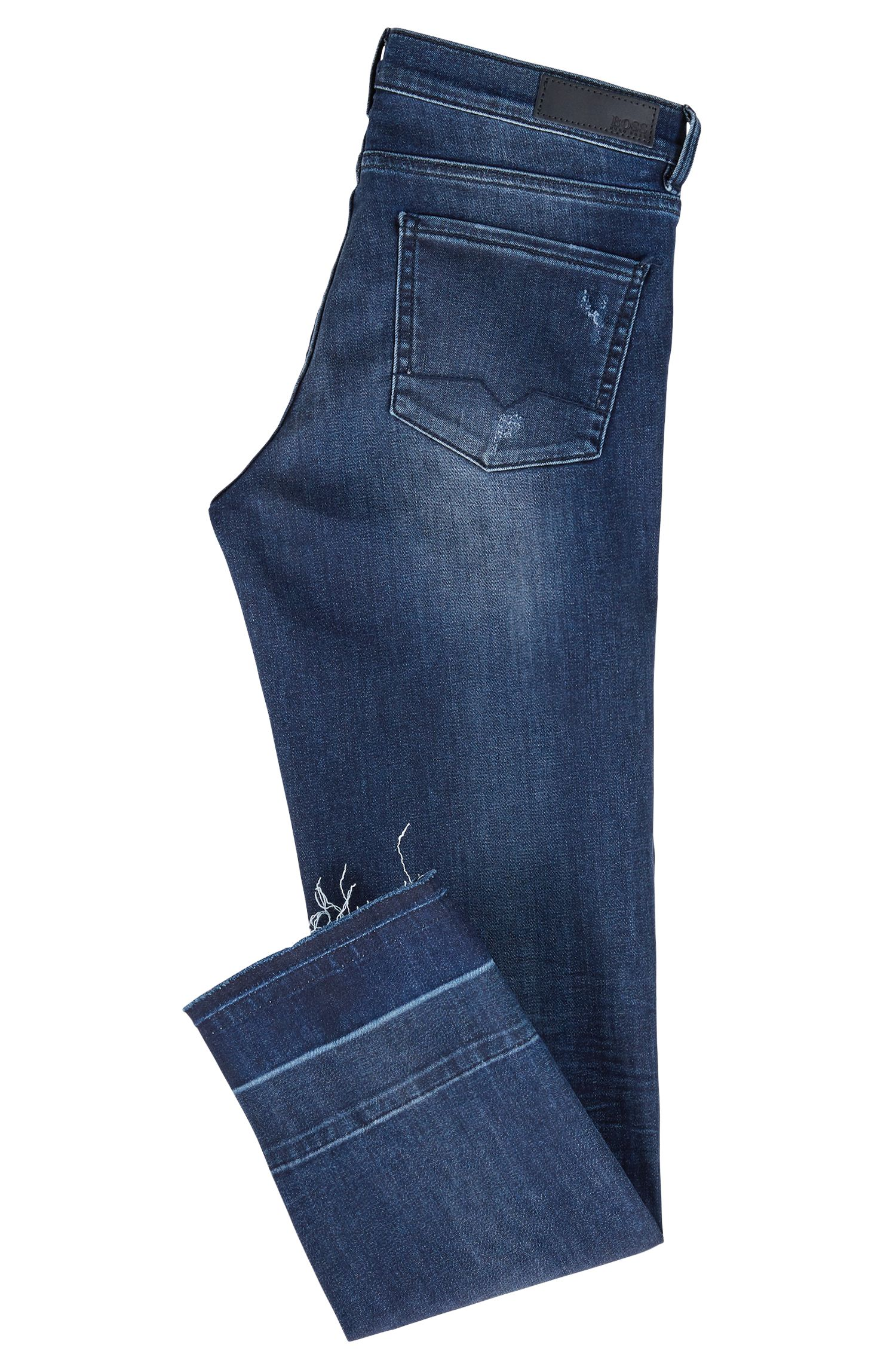 Kortere regular-fit jeans van super-stretchdenim, Blauw