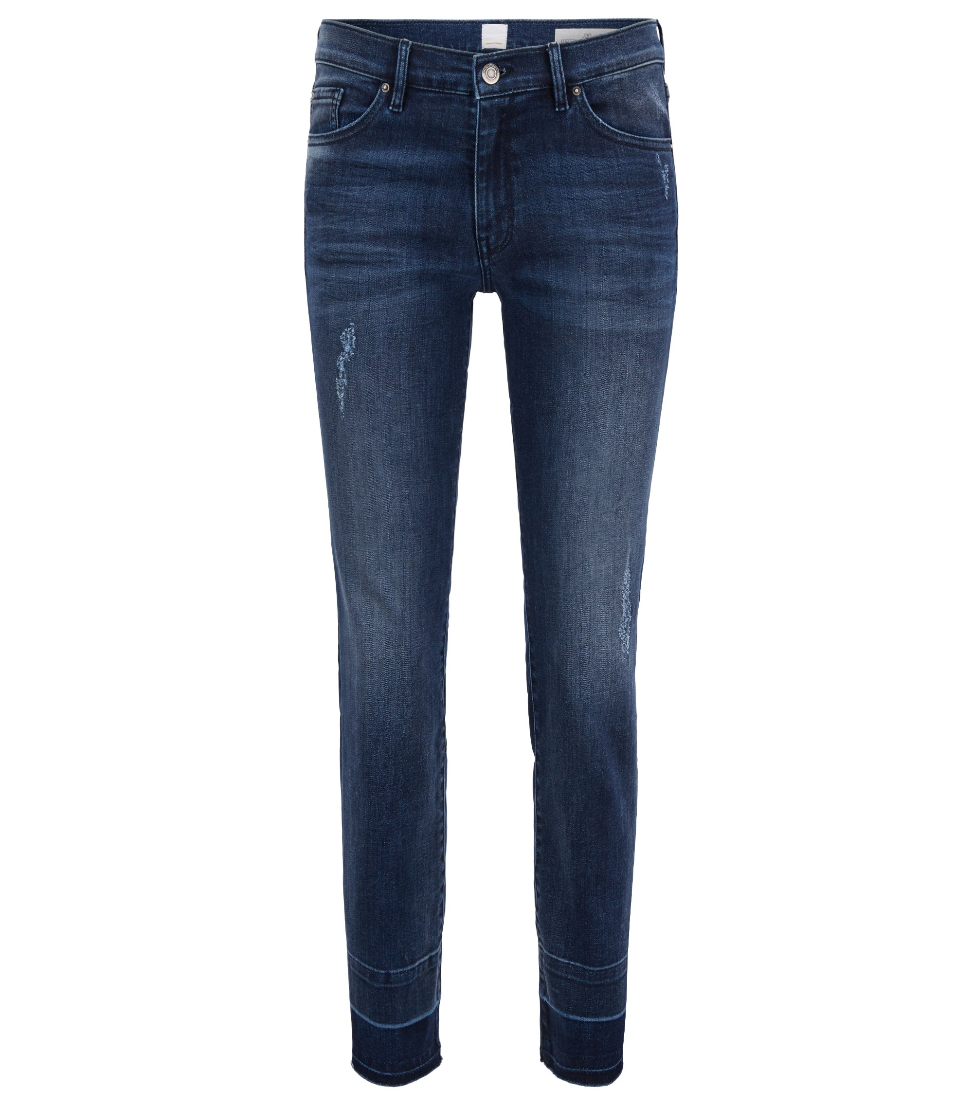 Regular-fit cropped jeans in super-stretch denim, Blue