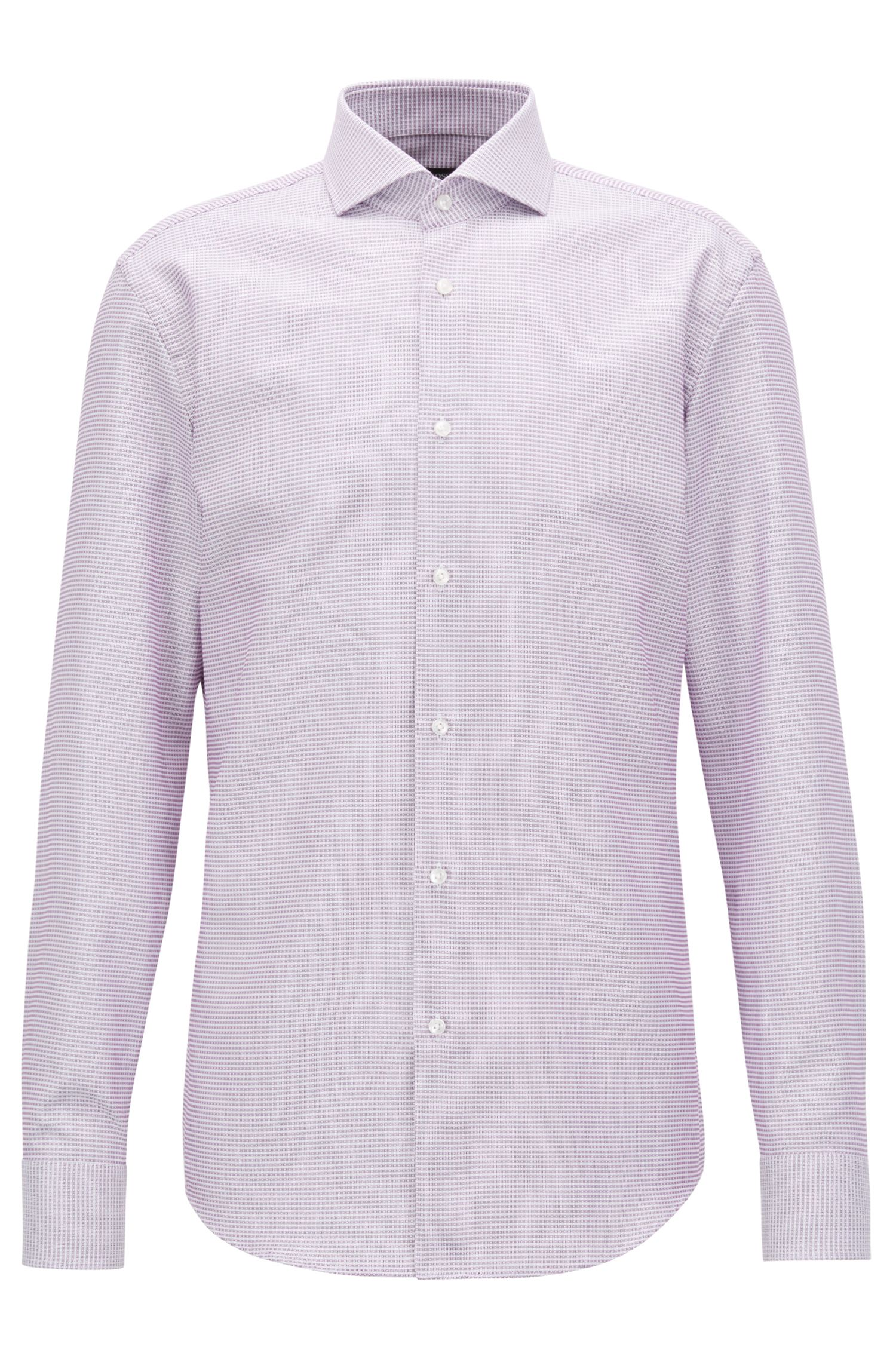 Camicia slim fit in cotone con finitura Fresh Active, Rosa scuro
