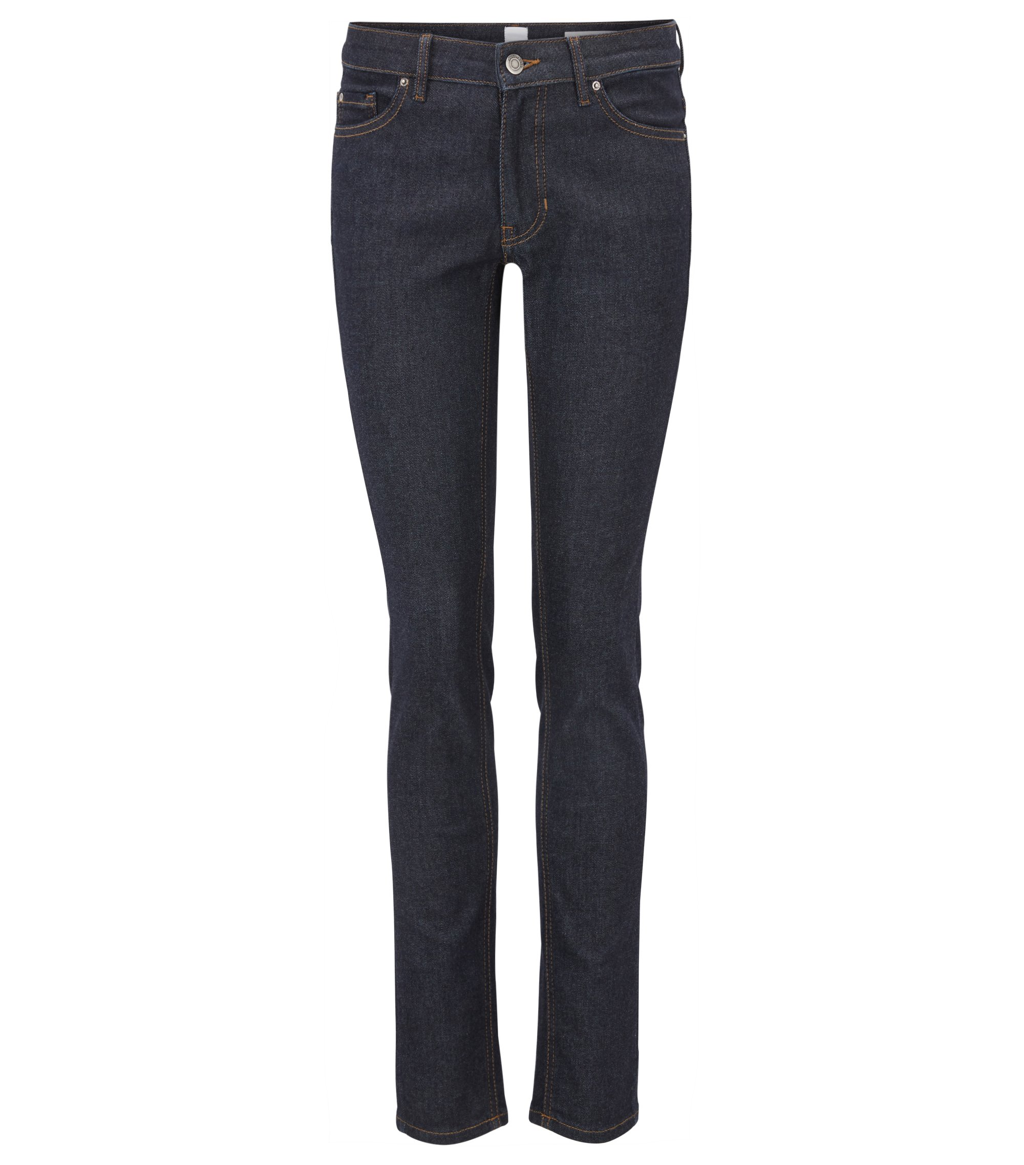 Slim-fit jeans in dark-blue power-stretch denim, Dark Blue
