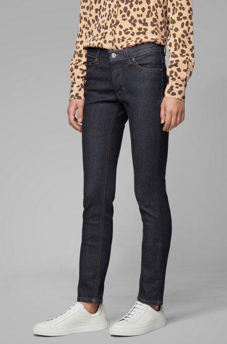 Jeans slim fit in denim blu scuro super-elasticizzato, Blu scuro