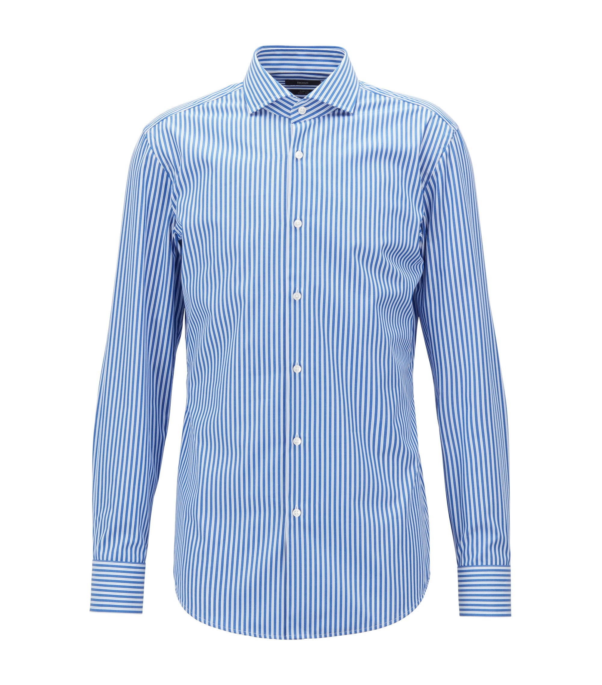 Camicia slim fit in popeline di cotone a righe facile da stirare, Blu