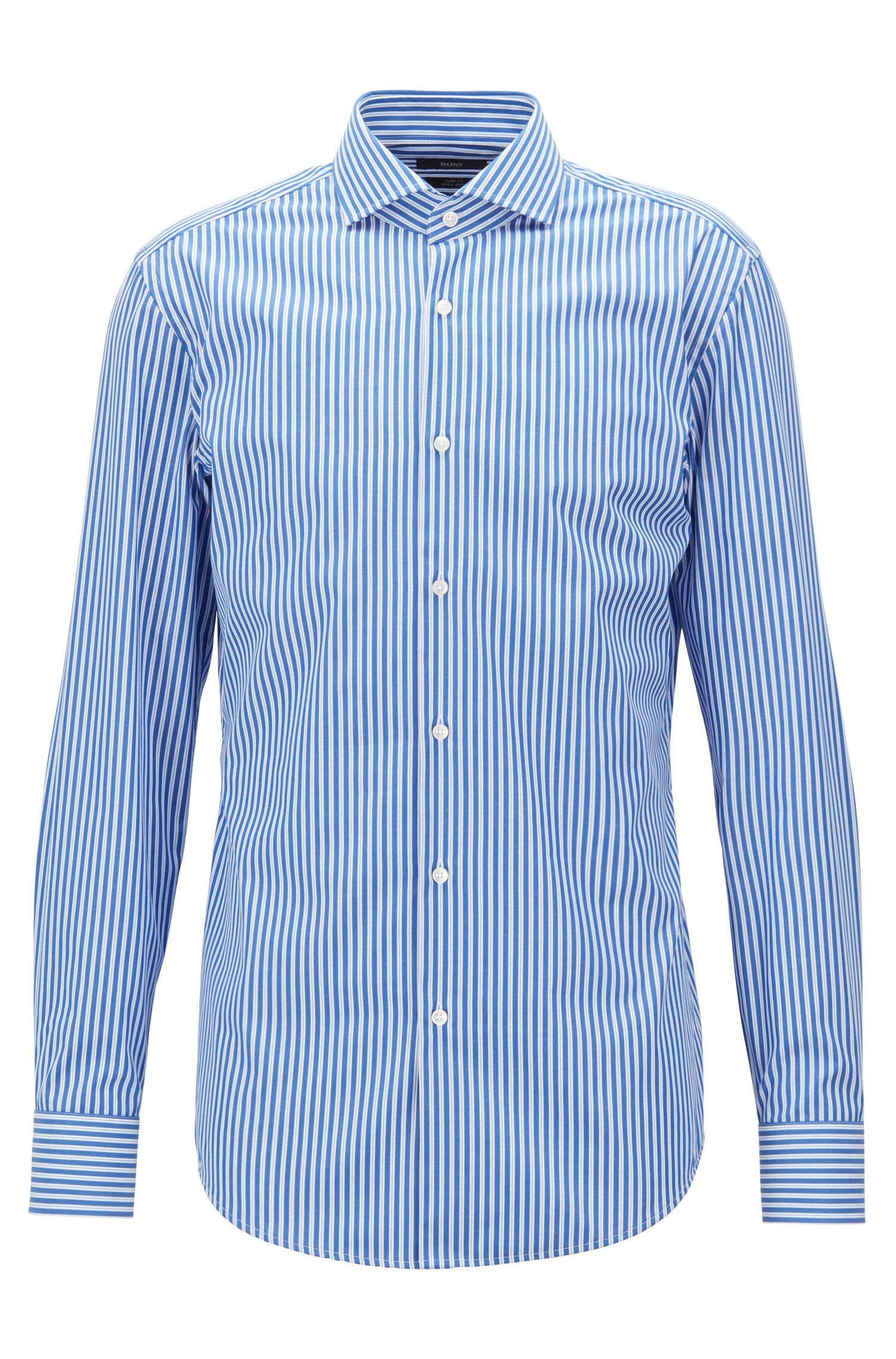 Slim-fit shirt in easy-iron cotton poplin with spread collar HUGO BOSS