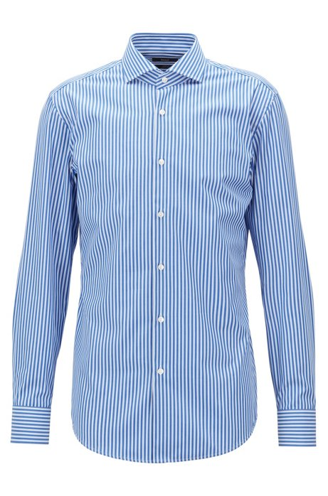 Slim-fit shirt in easy-iron cotton poplin with spread collar HUGO BOSS Outlet Exclusive Pay With Visa nS9ReTw