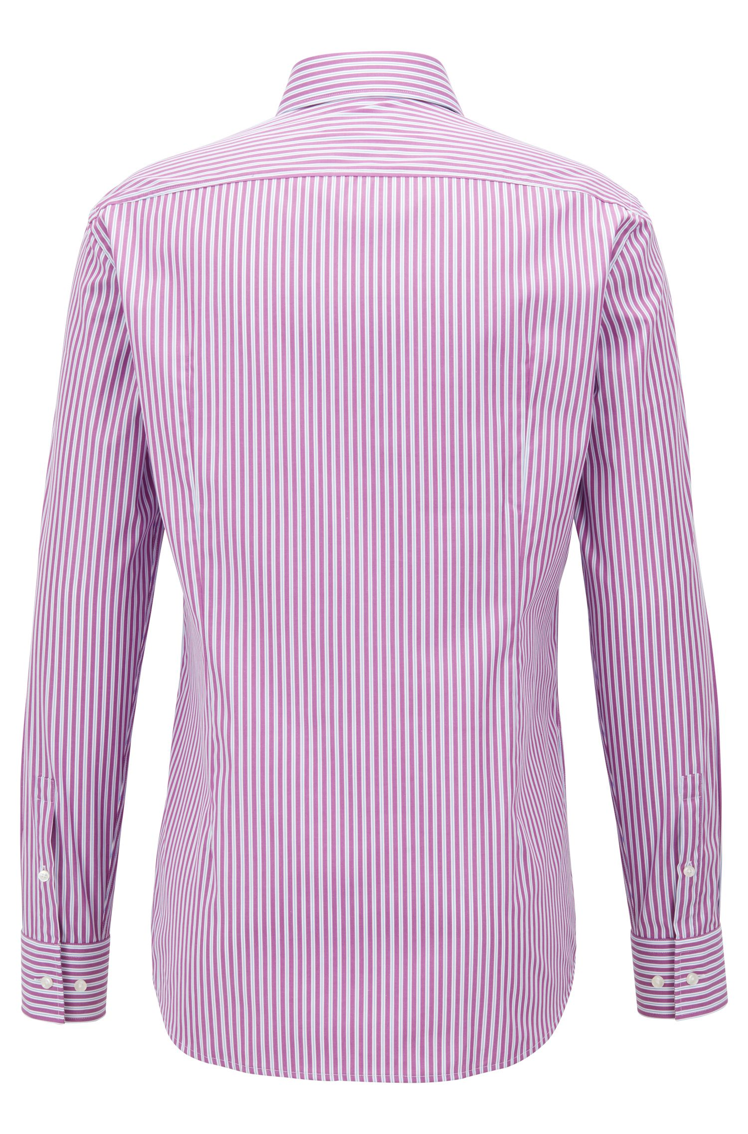 Slim-fit shirt in easy-iron striped cotton poplin, Dark pink