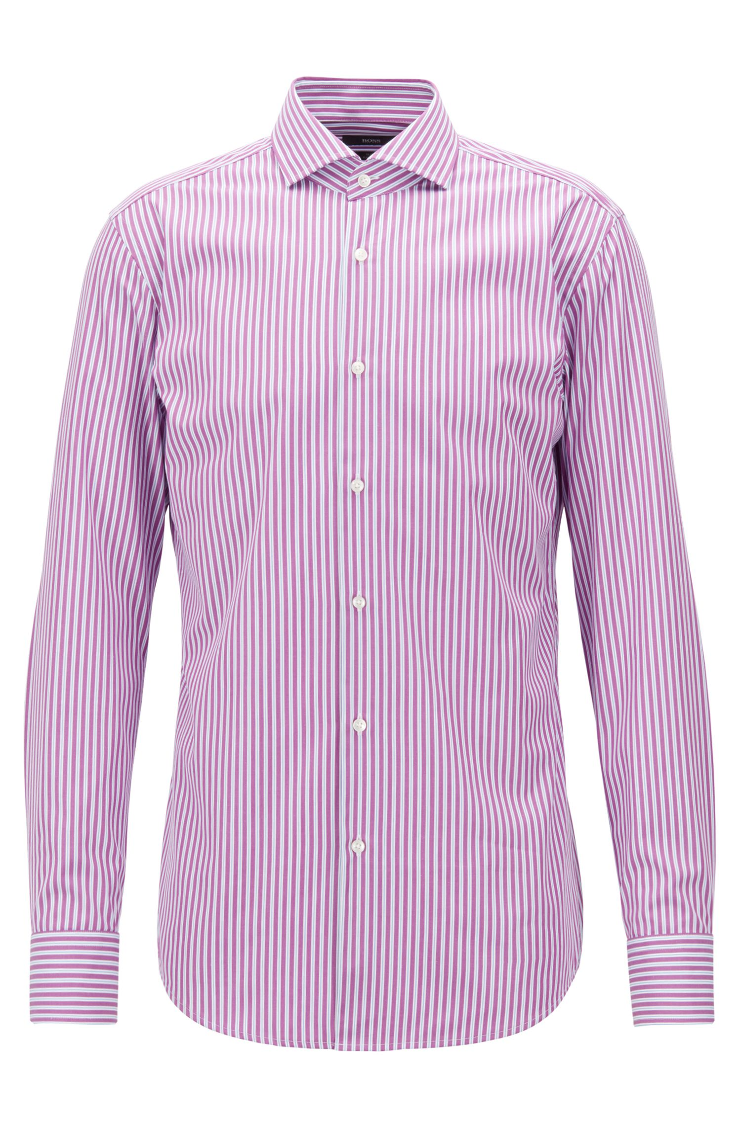 Camicia slim fit in popeline di cotone a righe facile da stirare, Rosa scuro