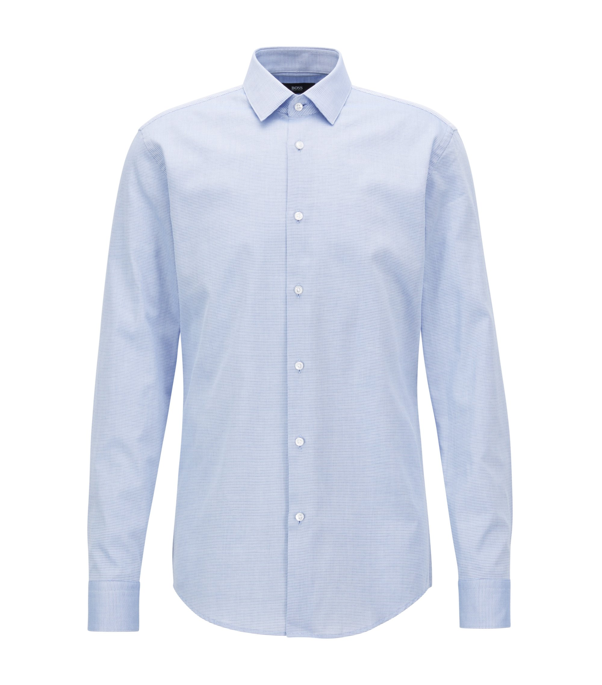 Slim-fit shirt in two-coloured structured cotton, Light Blue