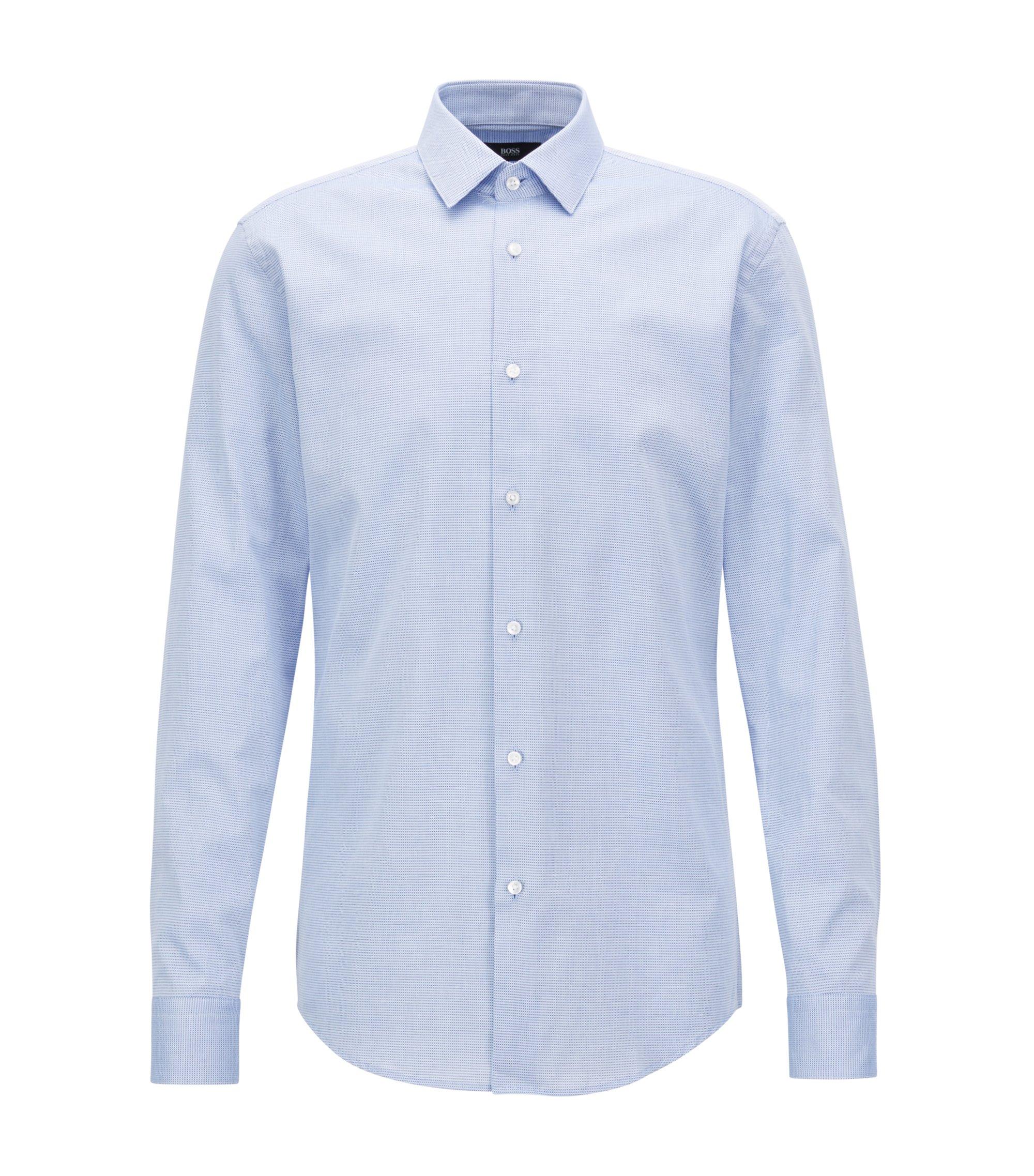Camisa slim fit en algodón con textura en dos colores, Celeste
