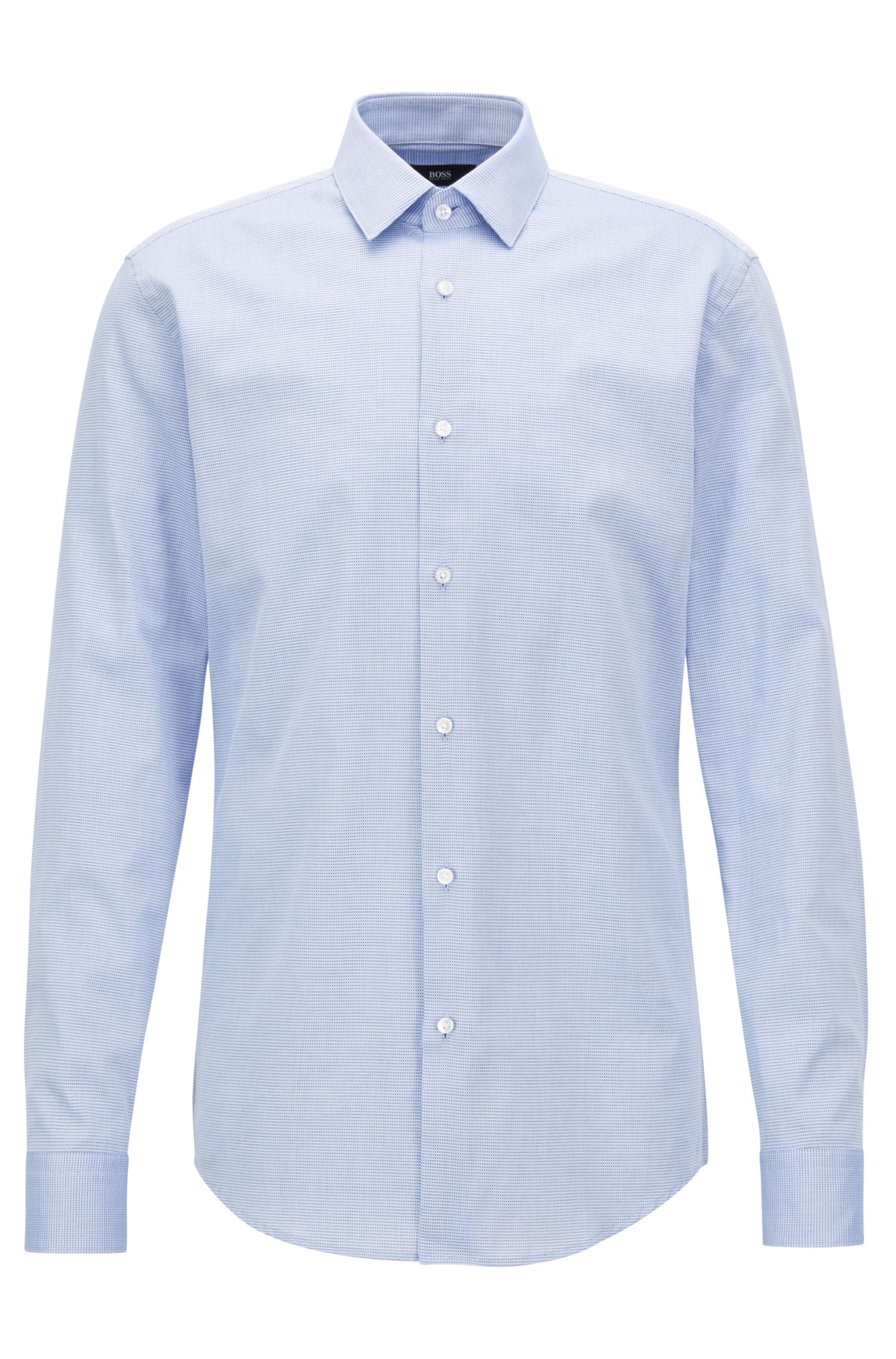 Slim-fit shirt in two-coloured structured cotton