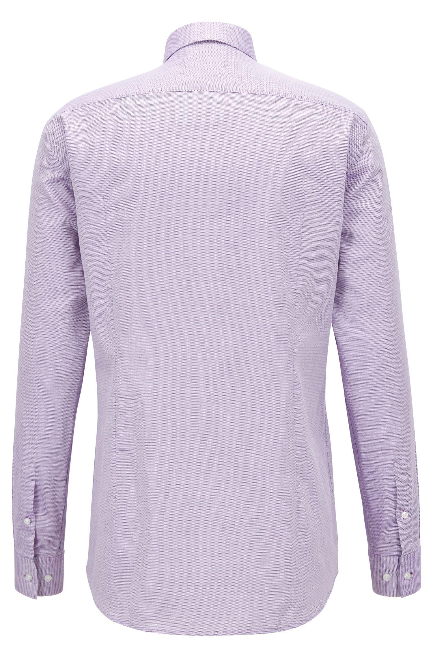 Camicia slim fit in cotone lavorato bicolore, Rosa scuro