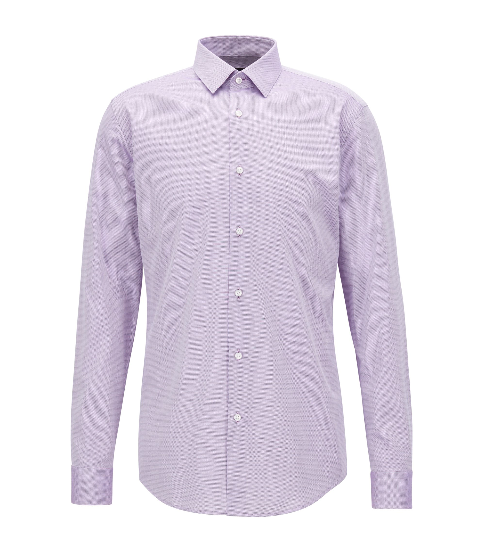 Slim-fit shirt in two-coloured structured cotton, Dark pink
