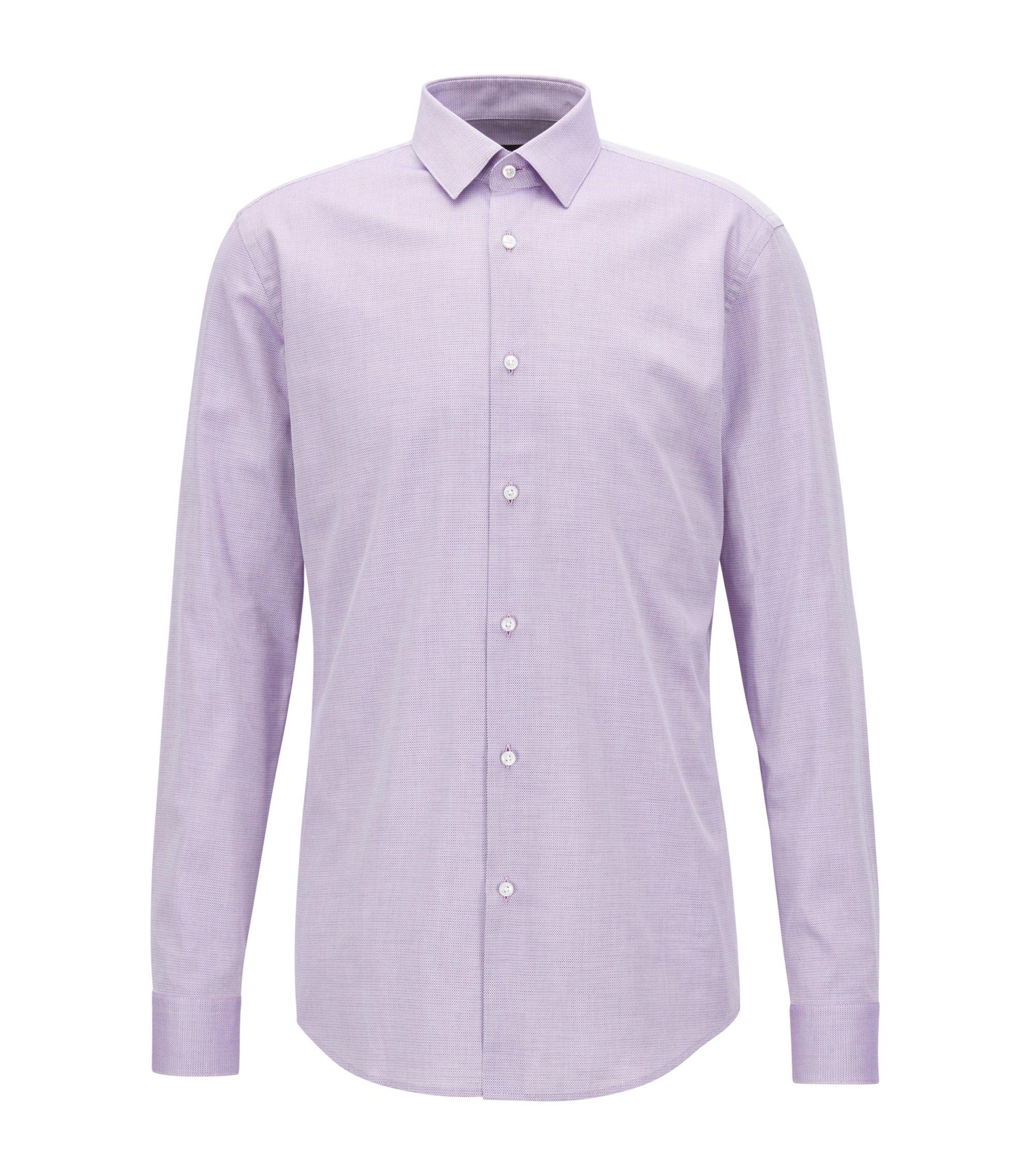 Slim-fit overhemd van tweekleurige, gestructureerde katoen, Donkerroze