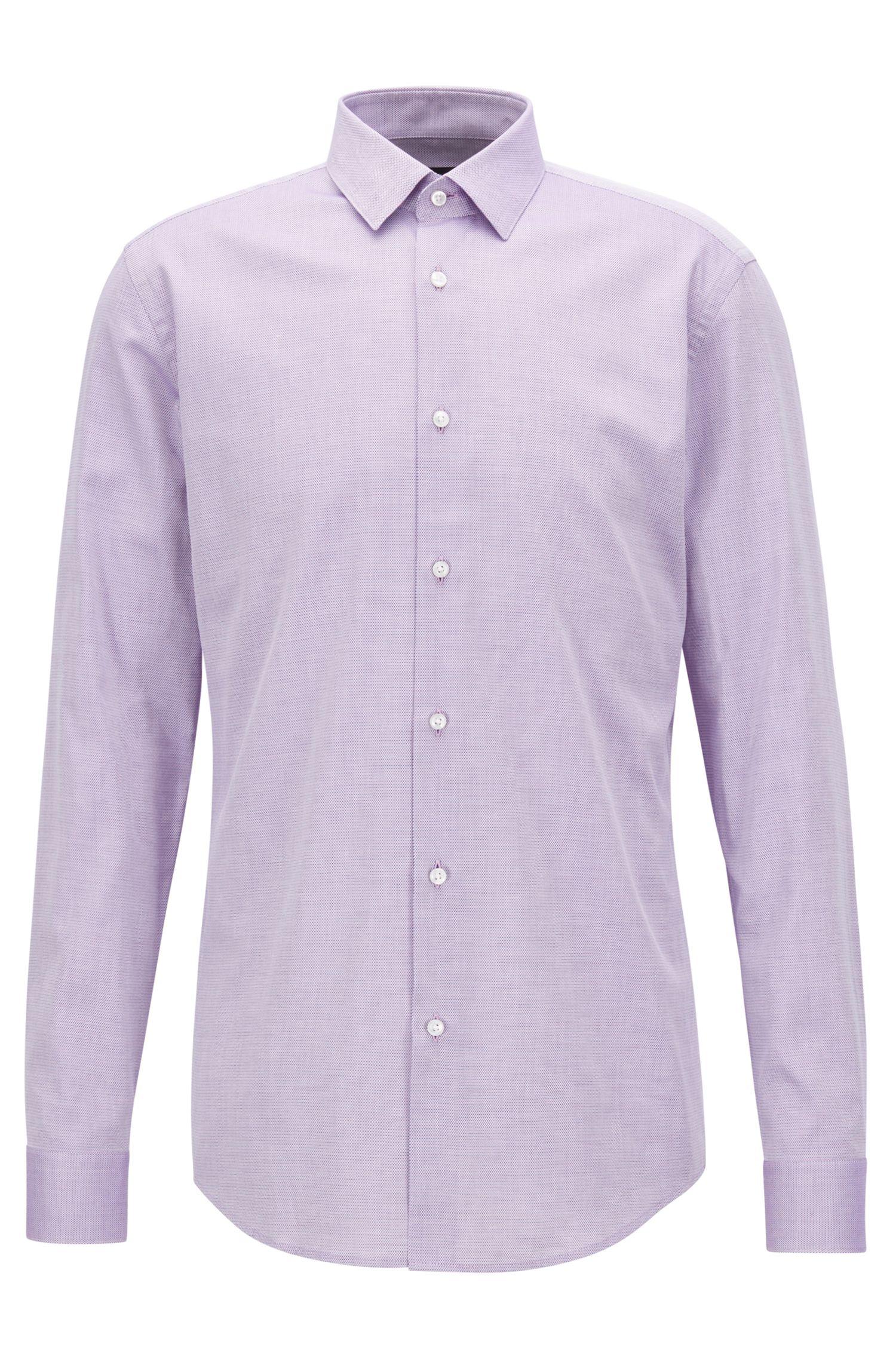 Camisa slim fit en algodón con textura en dos colores, Rosa oscuro