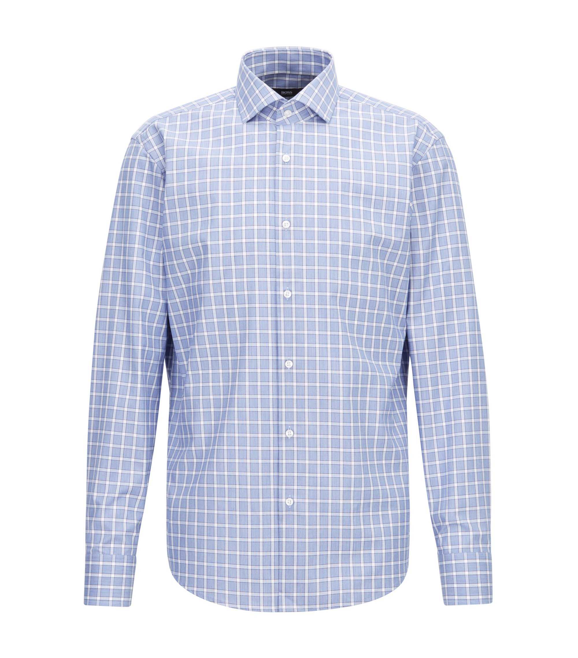Regular-fit easy-iron shirt in Vichy check cotton, Blue