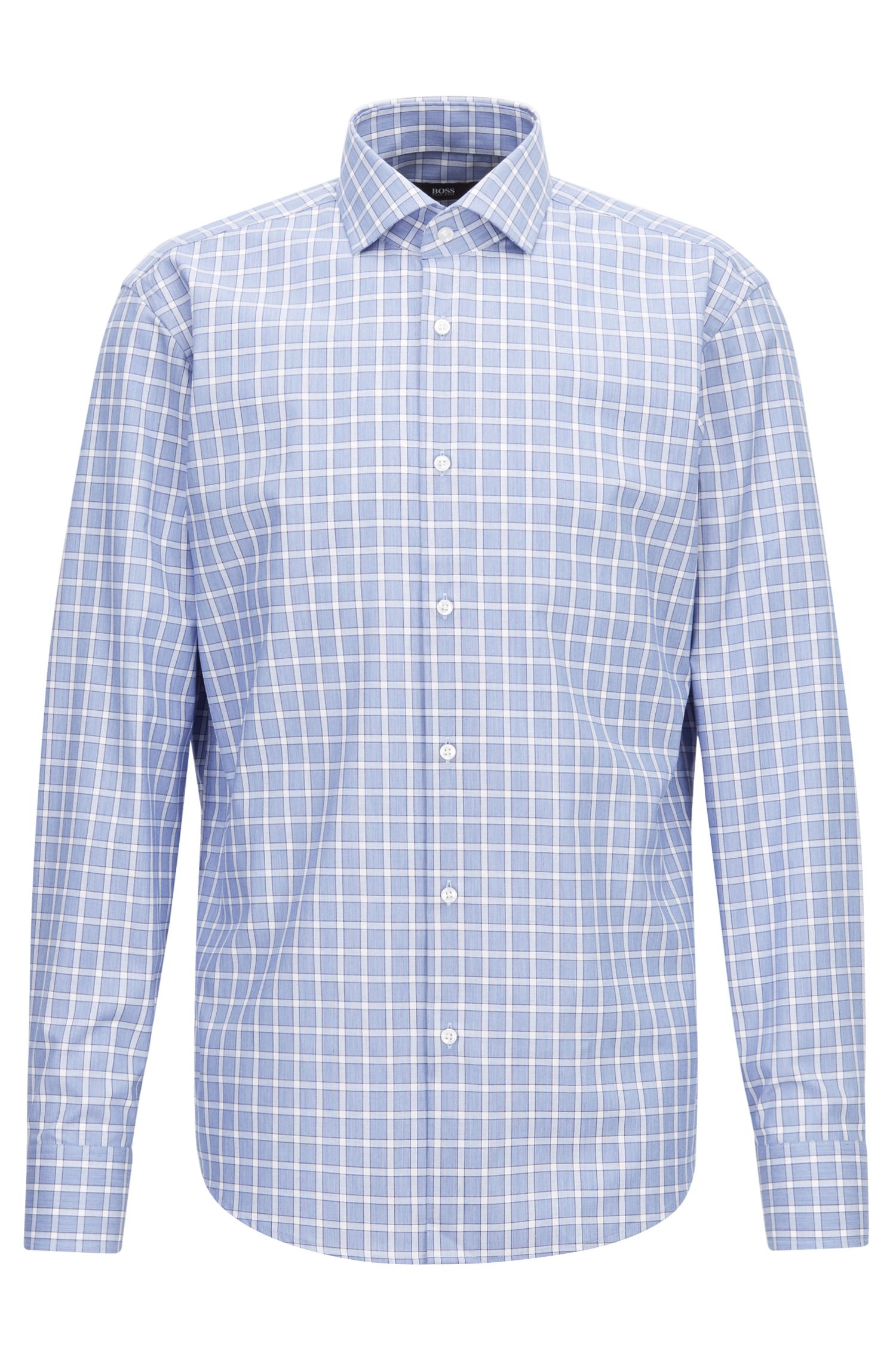 Camicia regular fit facile da stirare in cotone a quadri Vichy, Blu