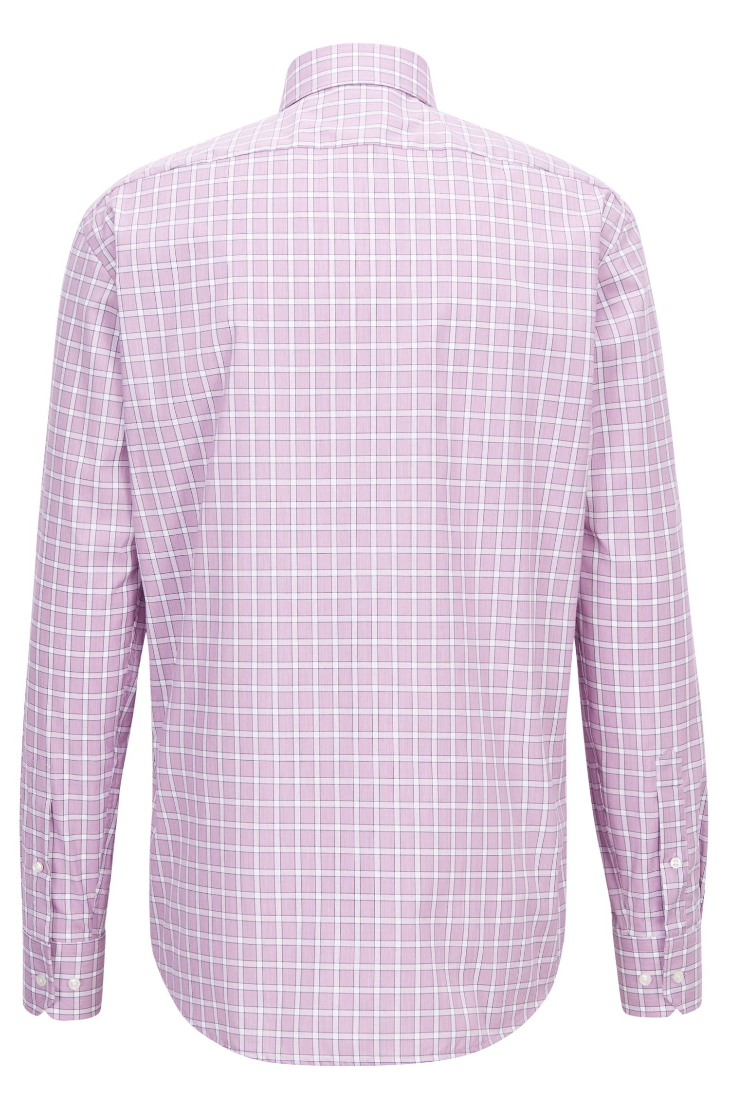 Camicia regular fit facile da stirare in cotone a quadri Vichy, Rosa scuro