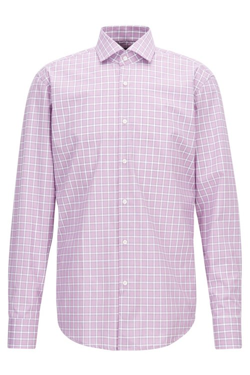 Hugo Boss - Regular-fit easy-iron shirt in Vichy check cotton - 1