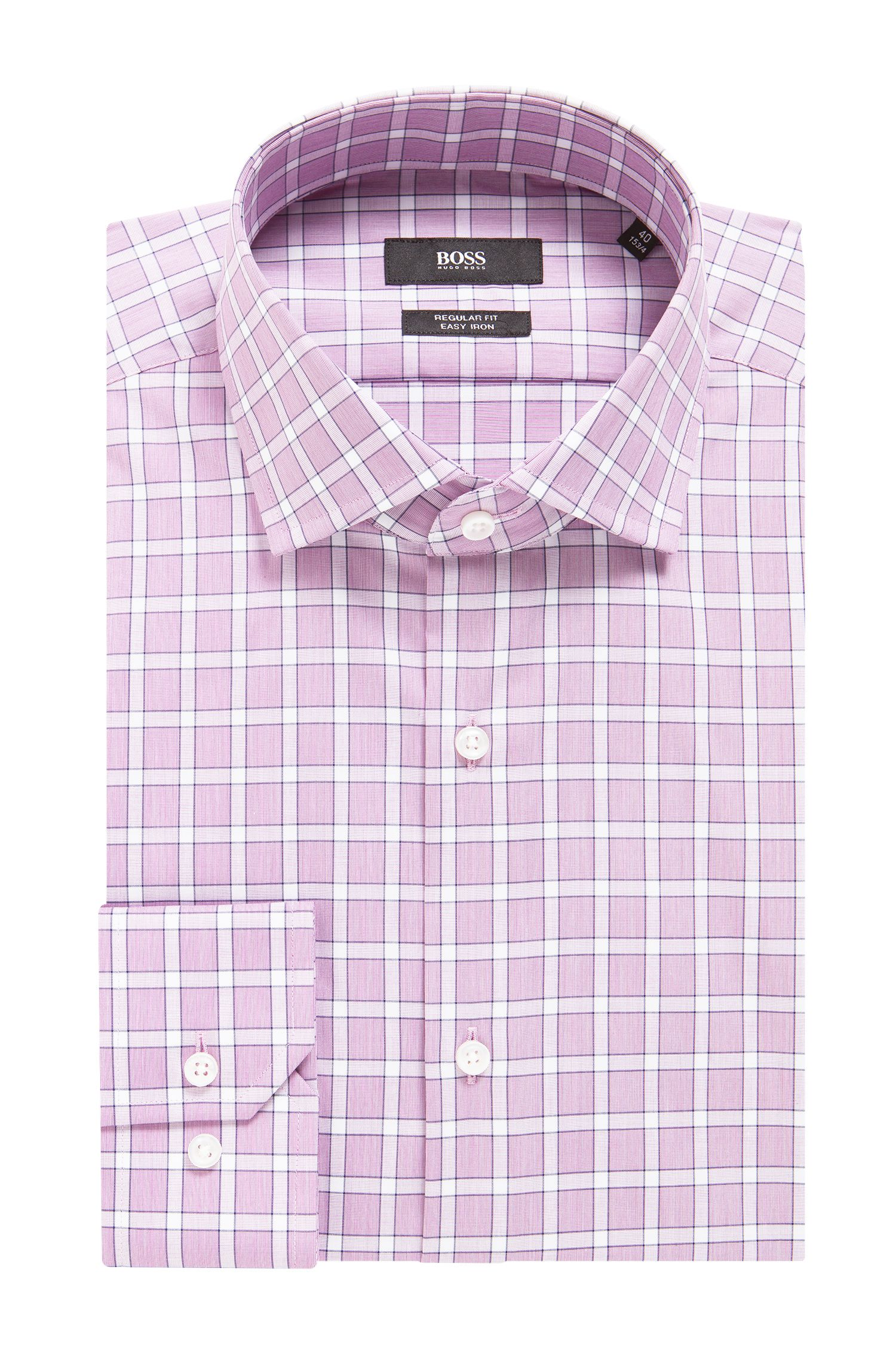 Regular-fit easy-iron shirt in Vichy check cotton, Dark pink