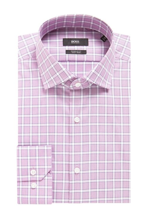 Hugo Boss - Regular-fit easy-iron shirt in Vichy check cotton - 4