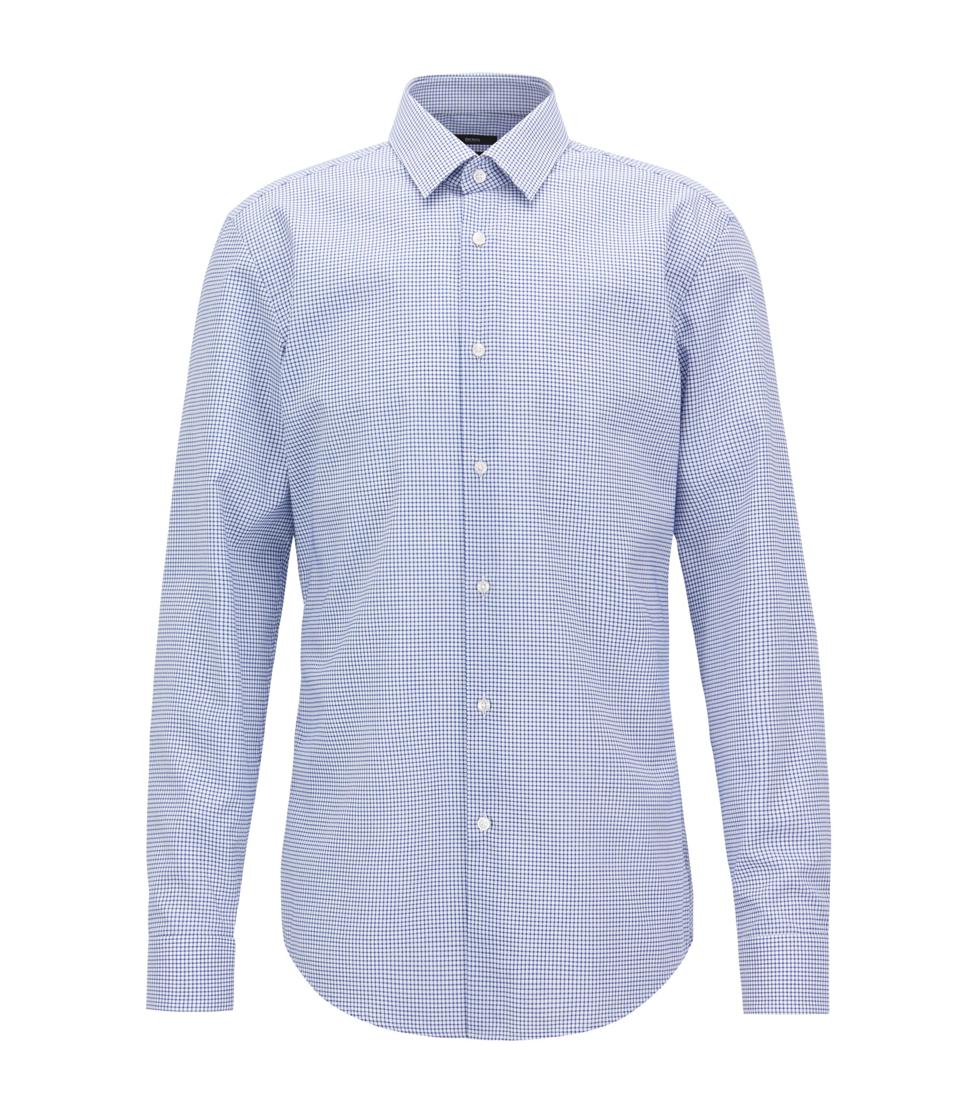 Slim-fit shirt in easy-iron checked cotton poplin, Blue
