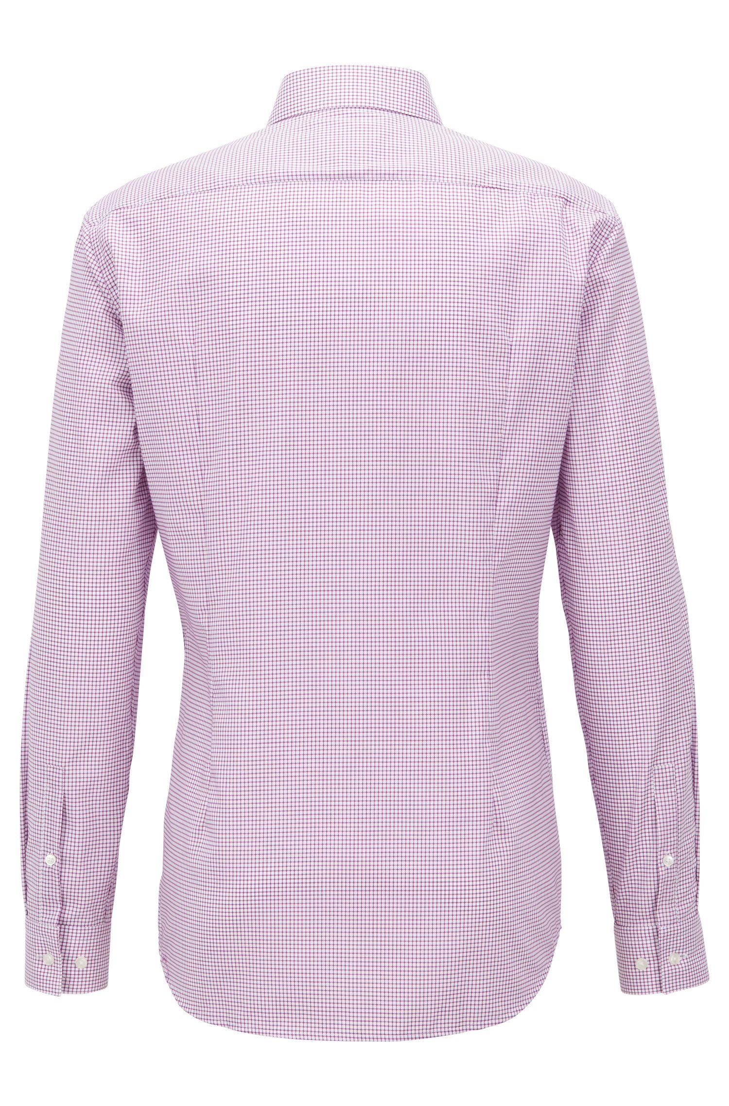 Kariertes Slim-Fit Hemd aus bügelleichter Baumwoll-Popeline, Dunkelrosa