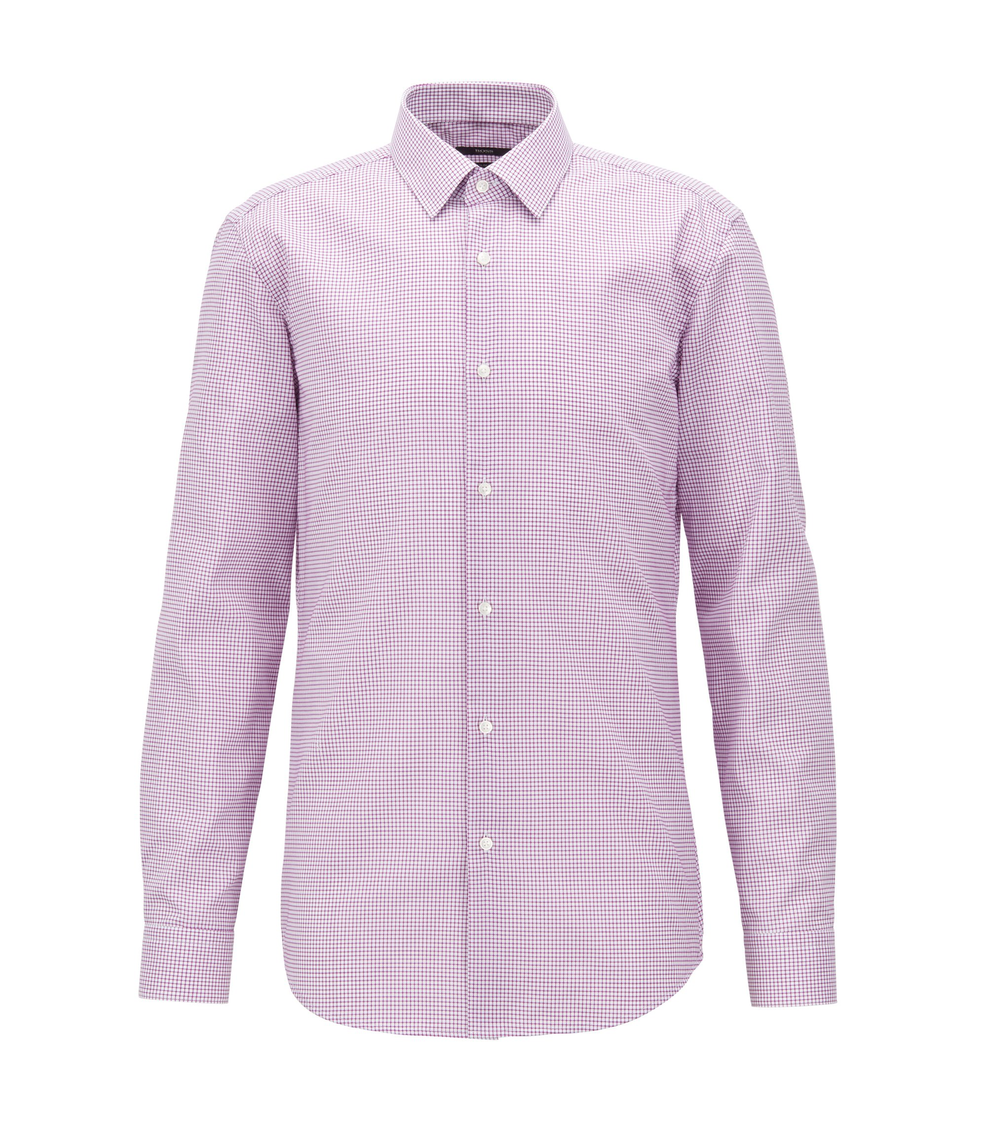 Slim-fit shirt in easy-iron checked cotton poplin, Dark pink