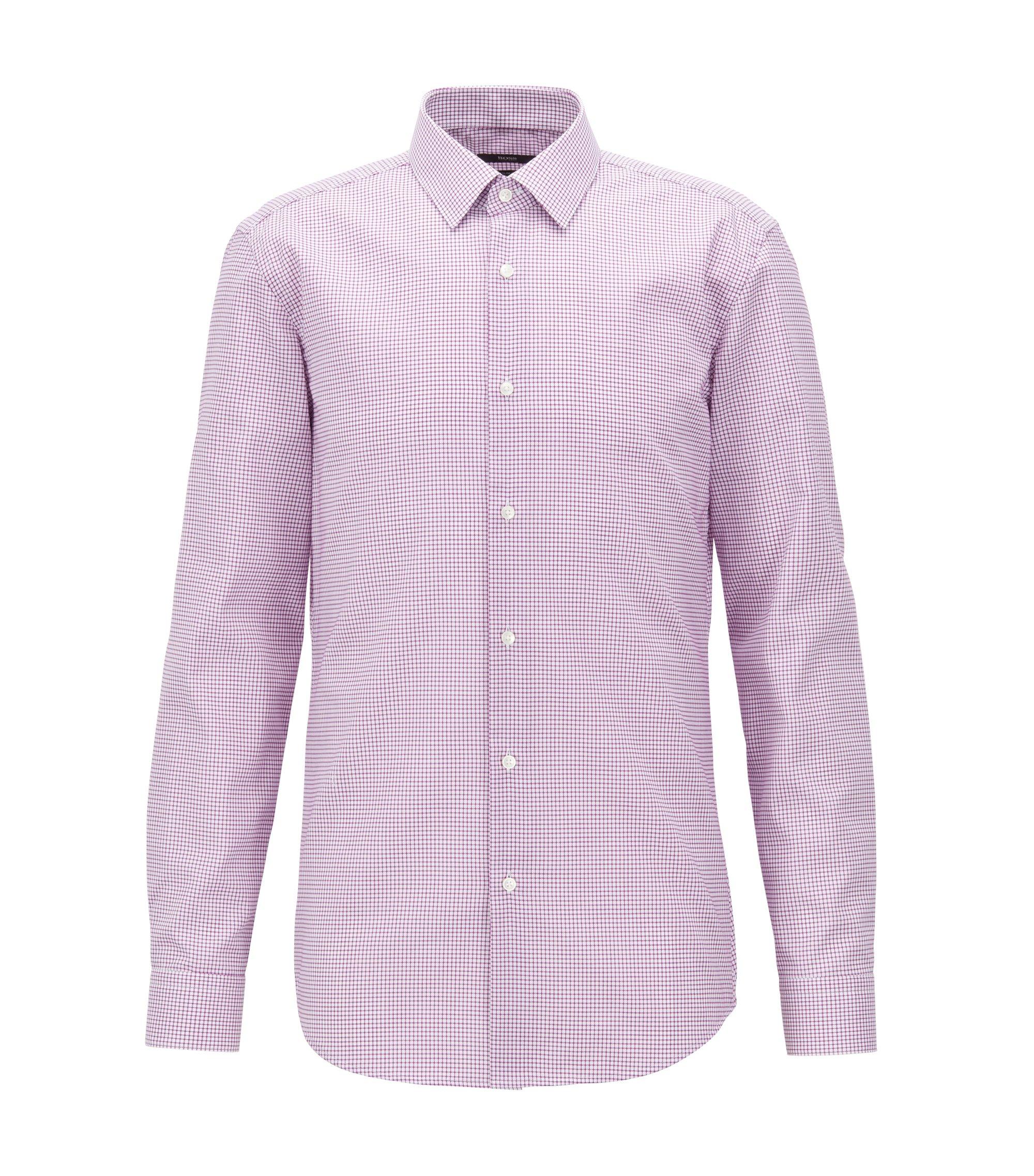 Camisa slim fit en popelín de algodón a cuadros de planchado fácil, Rosa oscuro