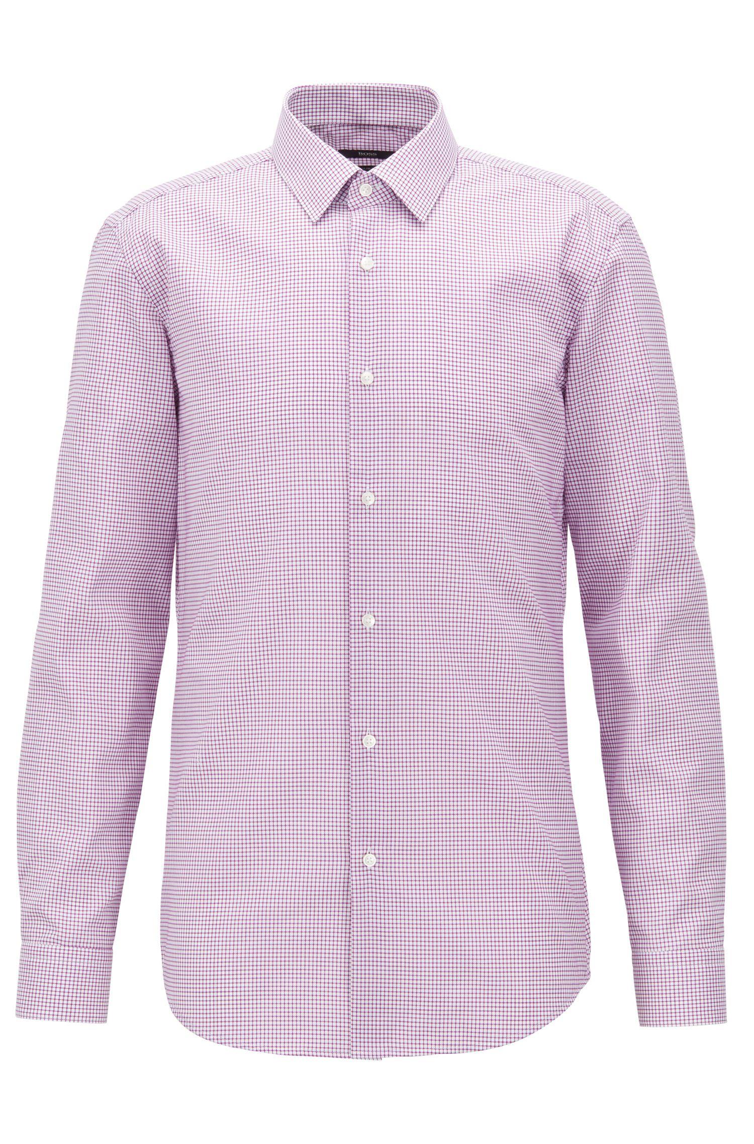 Camicia a quadri slim fit in popeline di cotone facile da stirare, Rosa scuro