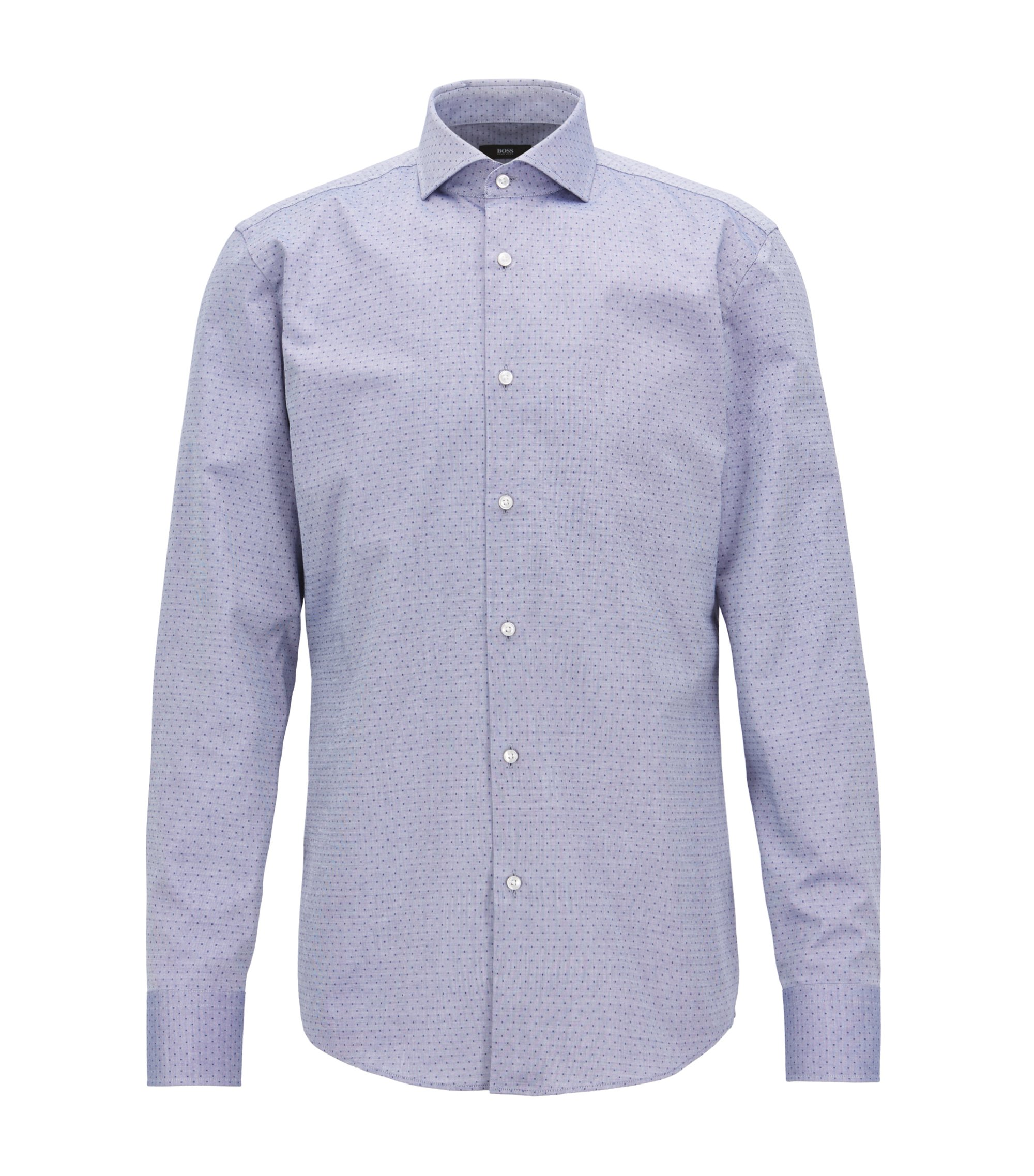 Slim-fit shirt in pinpoint dobby cotton, Dark Blue