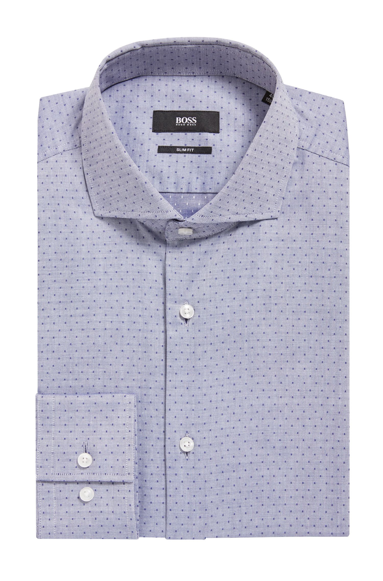 Slim-fit shirt in pinpoint dobby cotton