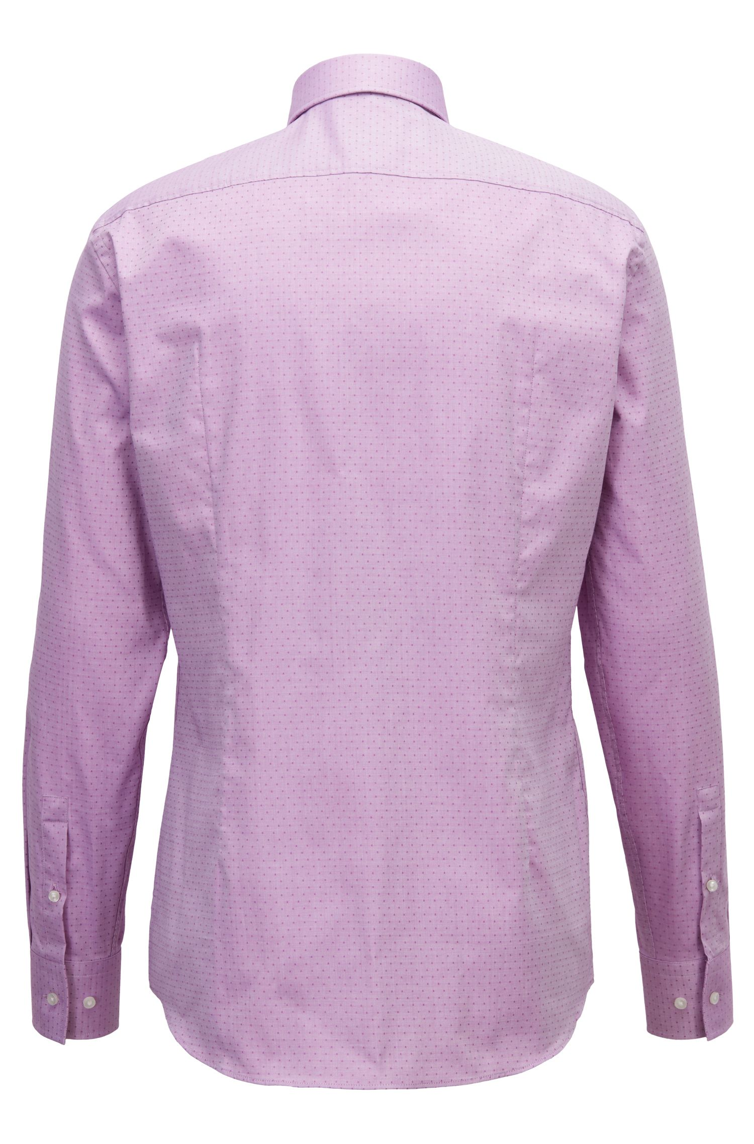 Slim-Fit Hemd aus strukturierter Baumwolle mit Punkten, Dunkelrosa