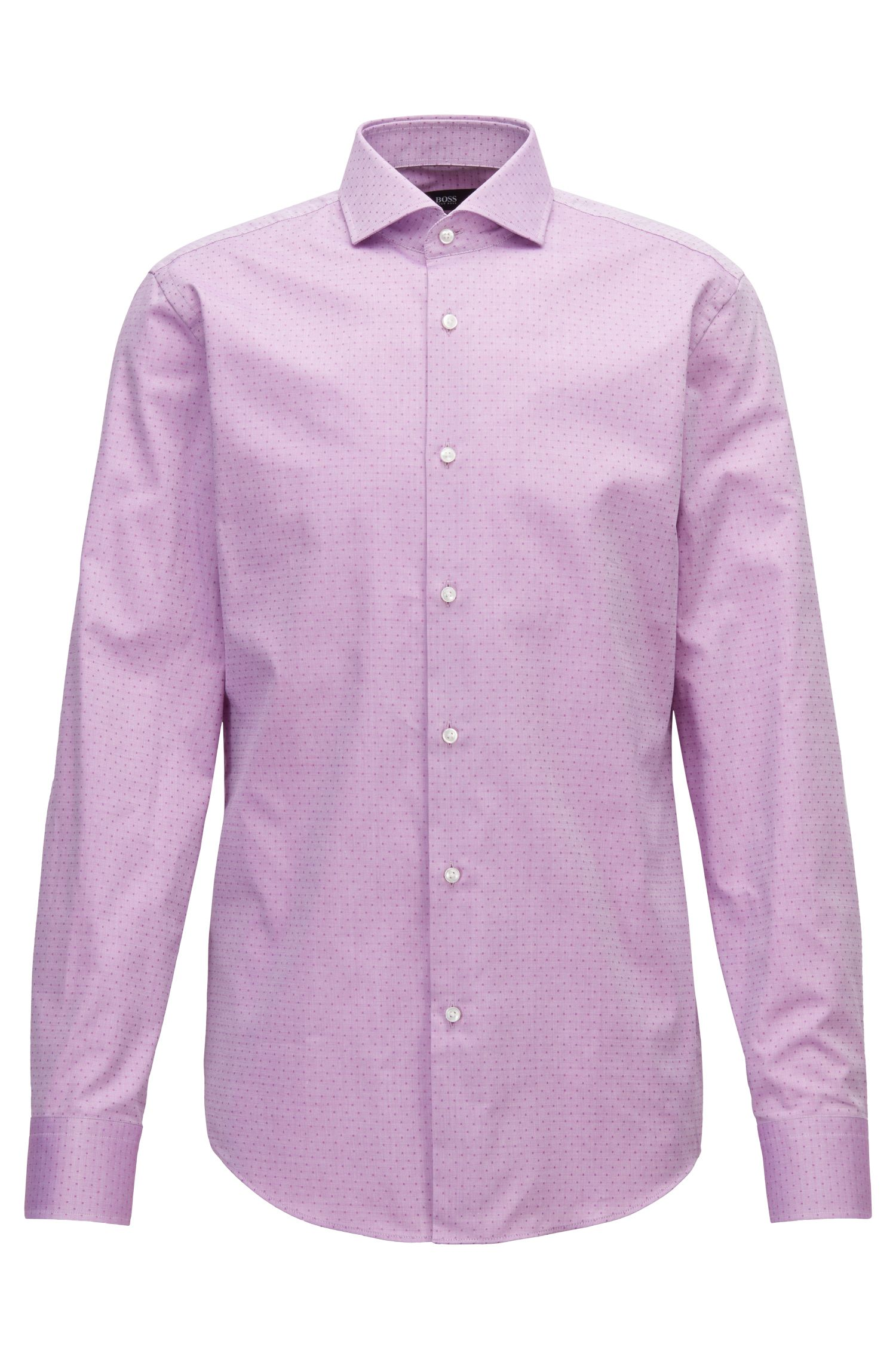 Slim-Fit Hemd aus strukturierter Baumwolle mit Punkten