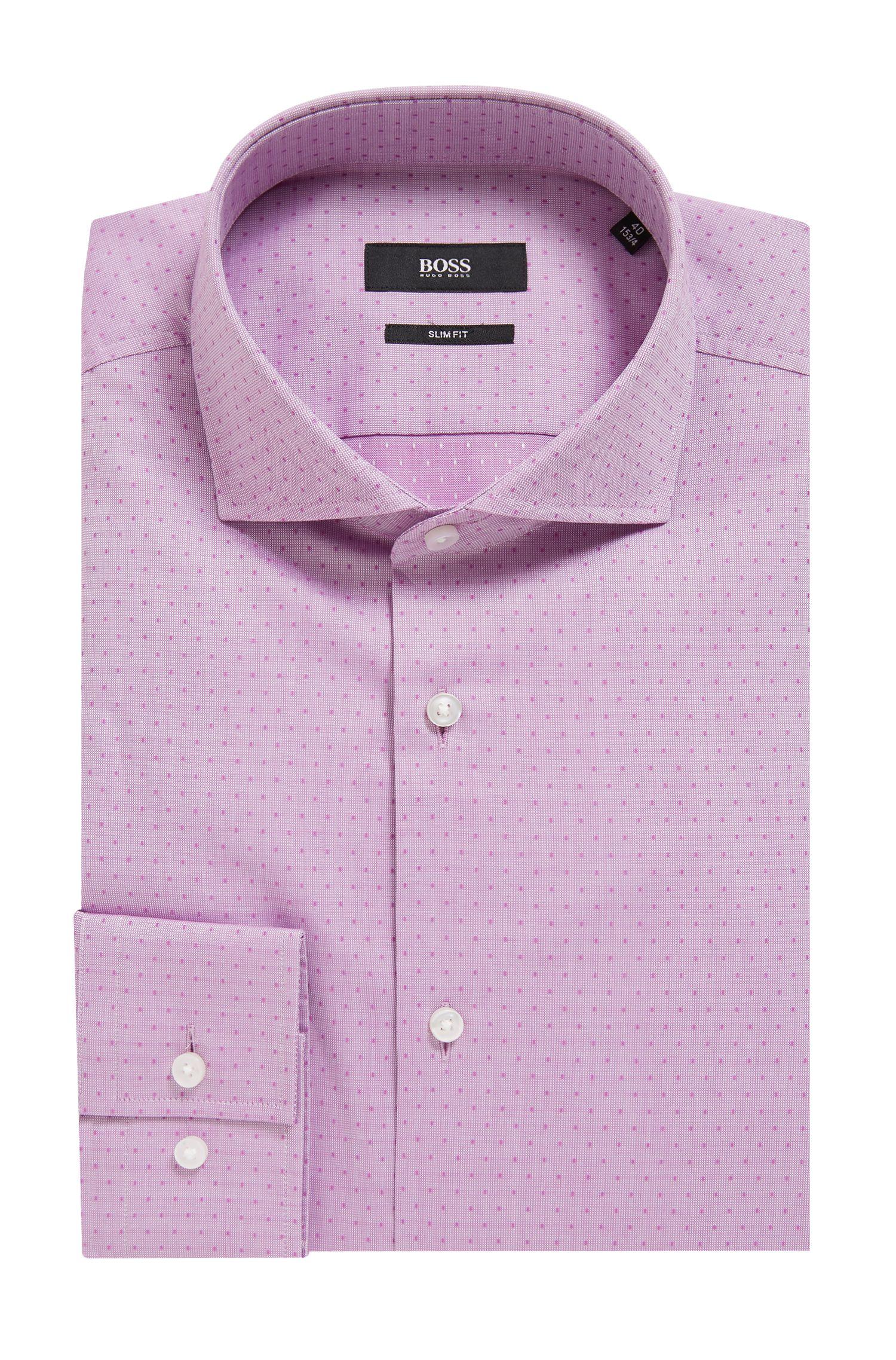 Slim-fit overhemd van dobbykatoen met stippen, Donkerroze