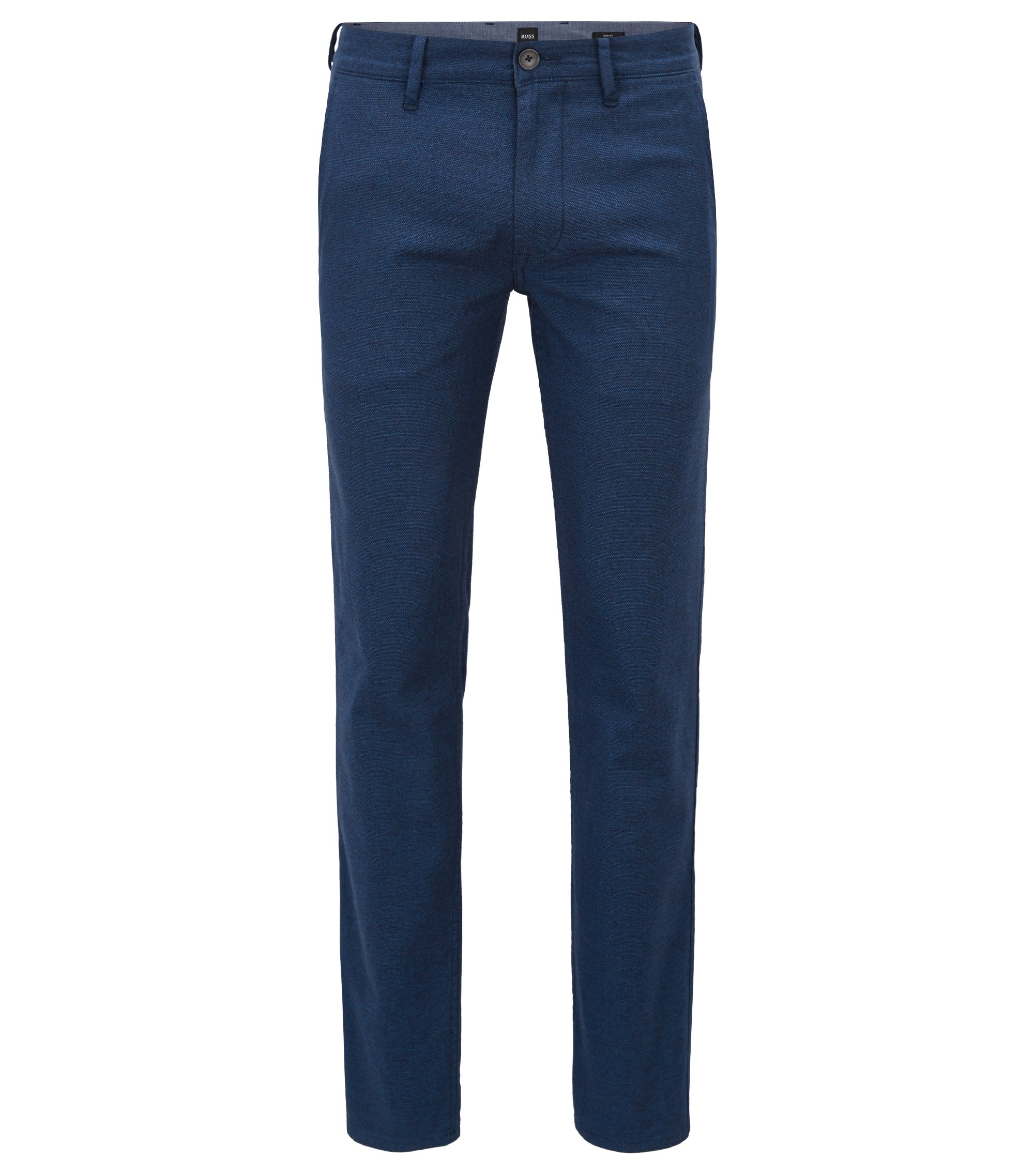 Slim-fit trousers in overdyed melange stretch cotton, Dark Blue