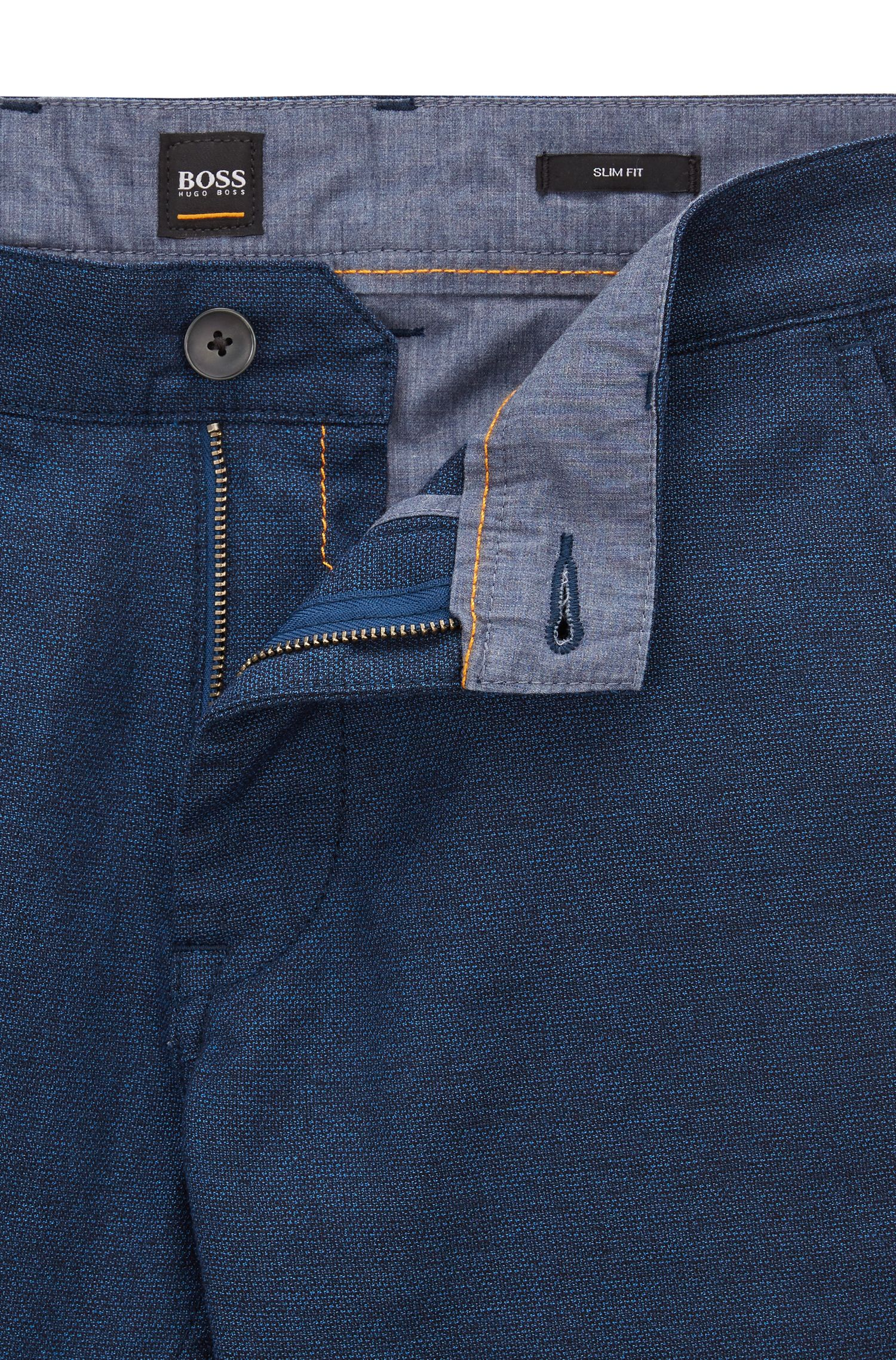 Slim-fit trousers in overdyed melange stretch cotton