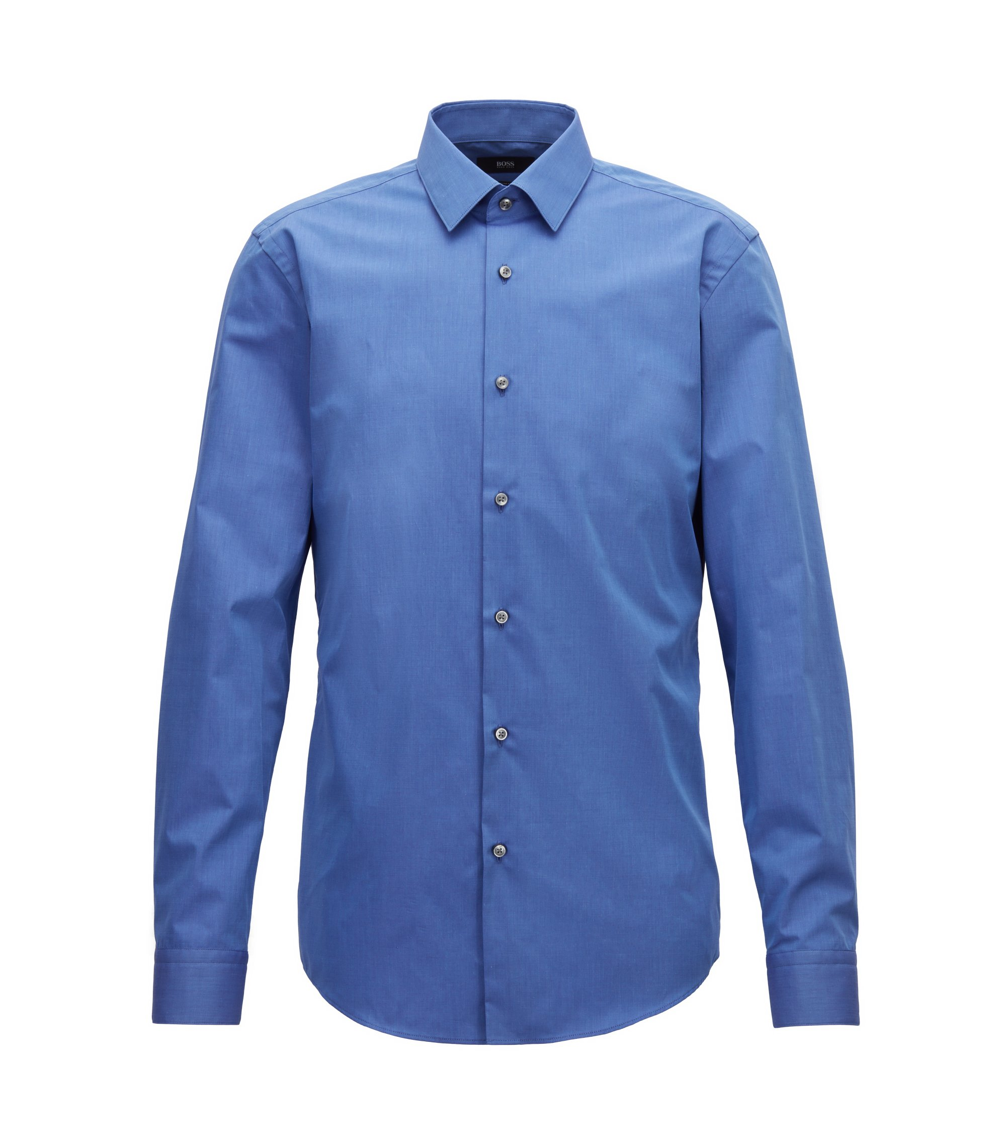Slim-fit shirt in fil-à-fil cotton, Blue
