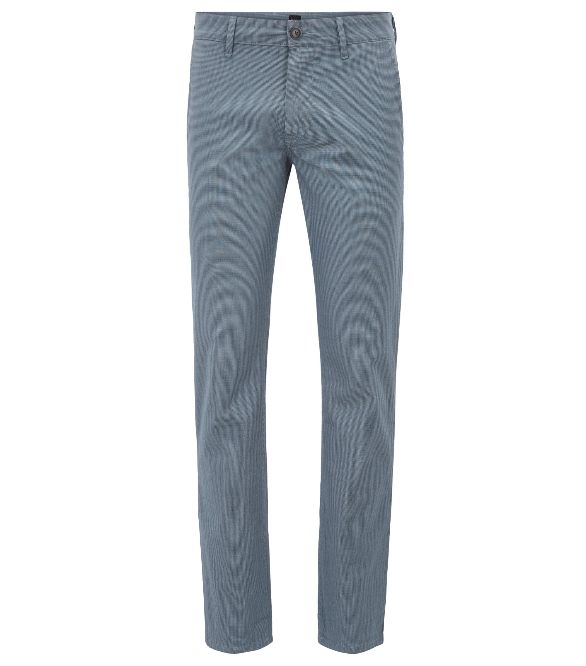 Slim-fit chinos in micro-pattern stretch cotton, Blue