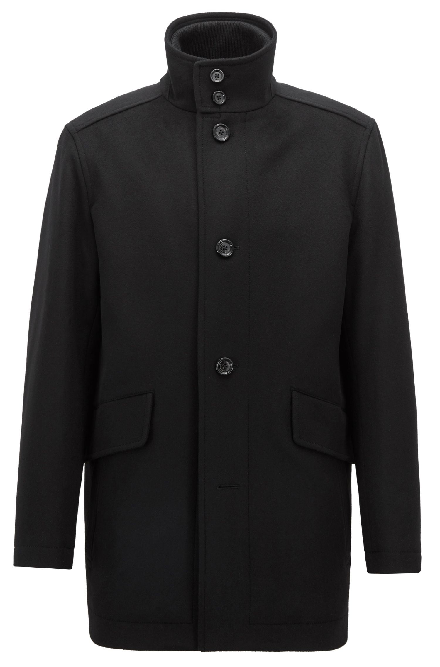 Relaxed-fit car coat in virgin wool and cashmere, Black