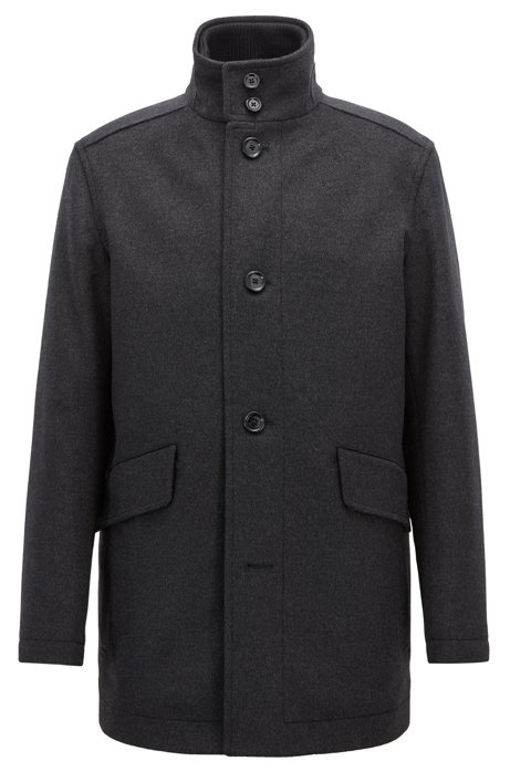 Relaxed-fit car coat in virgin wool and cashmere, Anthracite