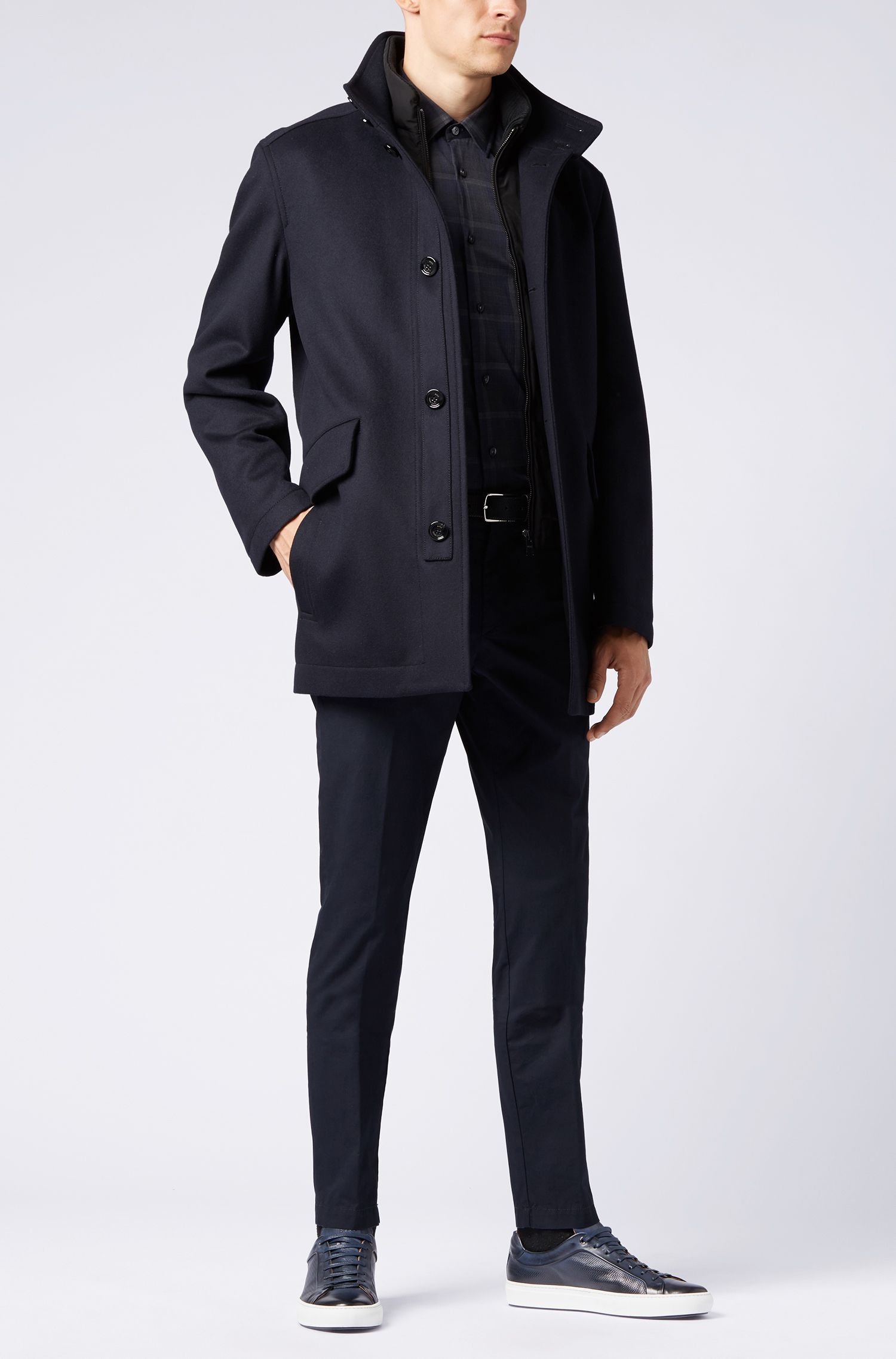 Manteau Relaxed Fit de style carcoat, en laine vierge et cachemire, Bleu foncé