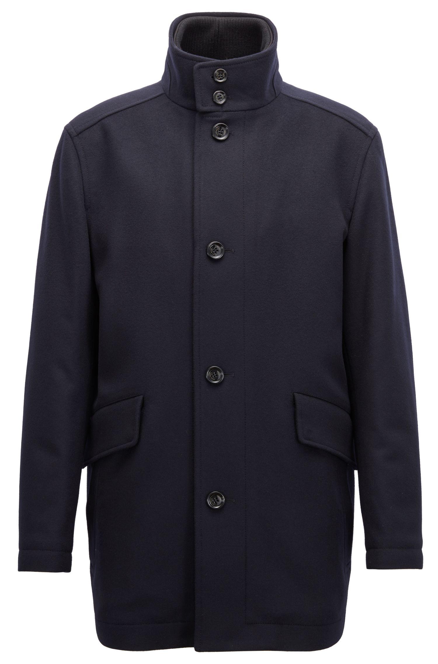 Cappotto corto relaxed fit in lana vergine e cashmere, Blu scuro