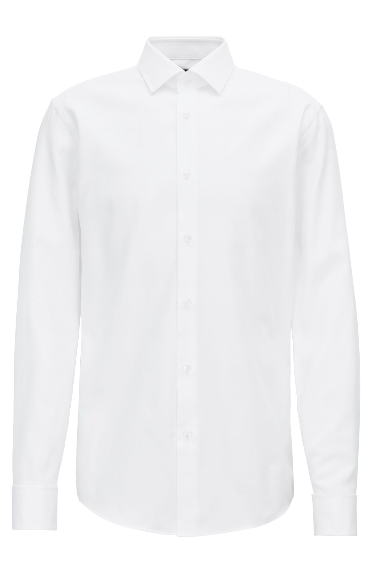 Slim-fit shirt in structured cotton with double cuffs