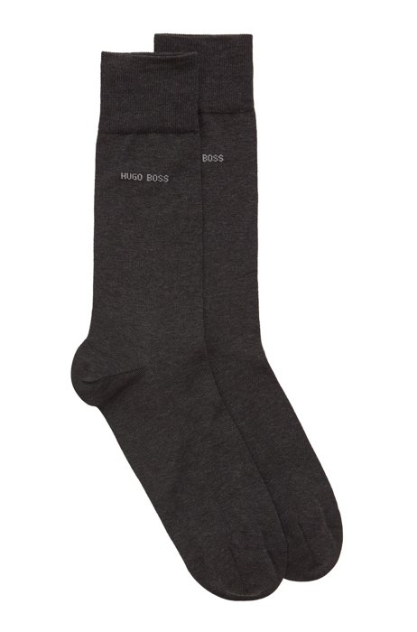 Two-pack of regular-length socks with mercerized Egyptian cotton, Dark Grey