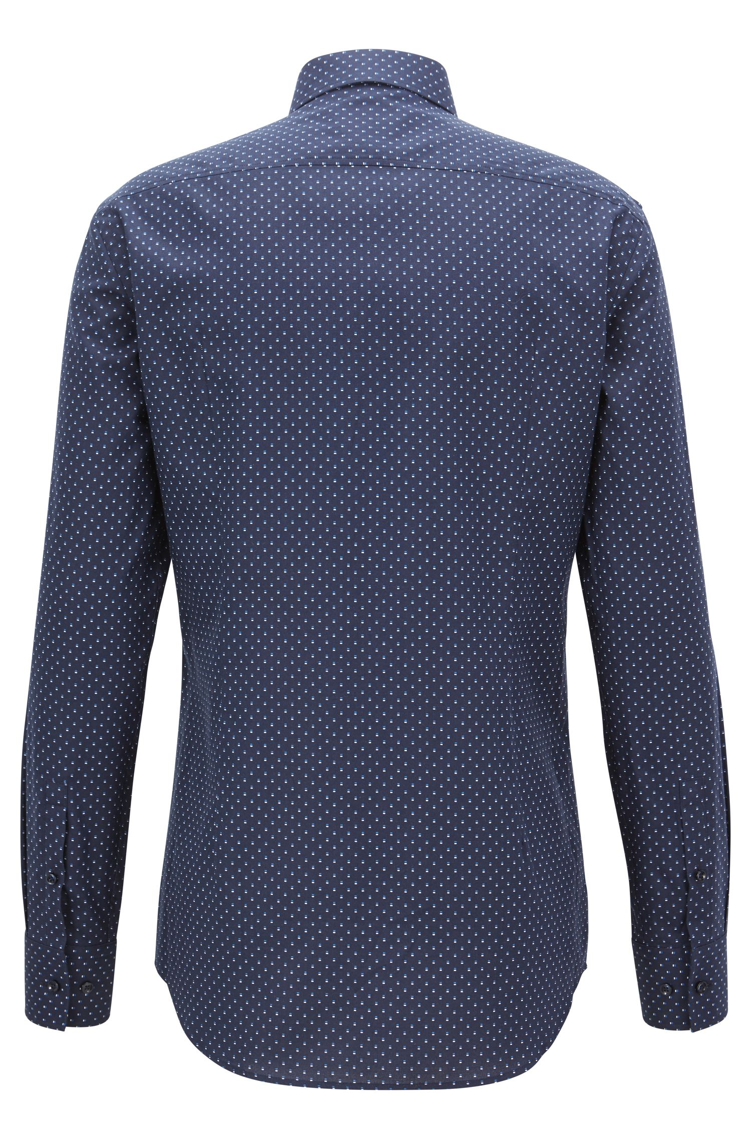Camicia slim fit in cotone realizzato in Italia con motivo all-over, Blu scuro